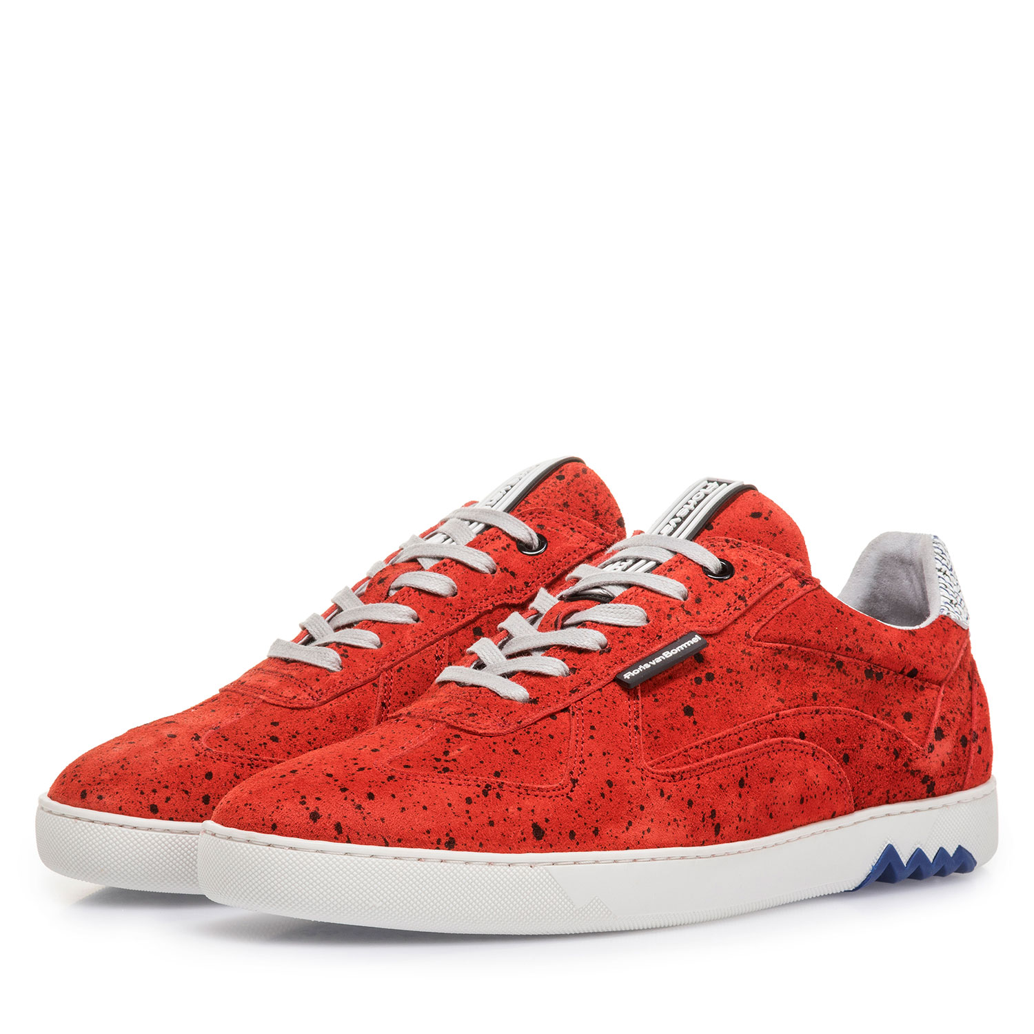 16342/21 - Red suede leather sneaker with black print