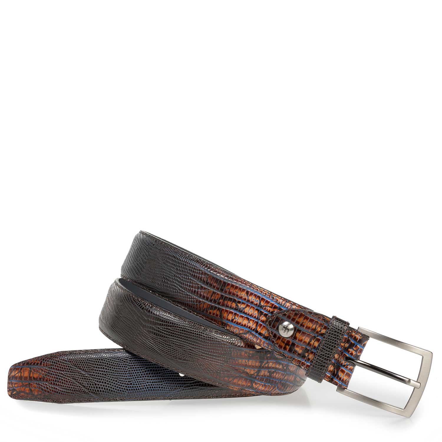 75201/06 - Cognac-coloured leather belt with lizard print