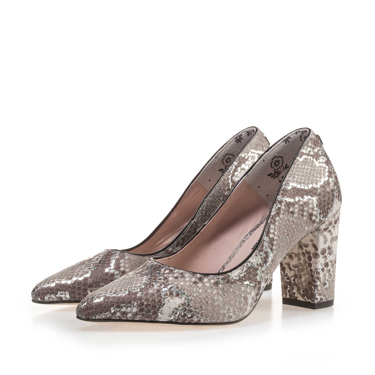 Taupe-coloured Snake Print Leather Pumps