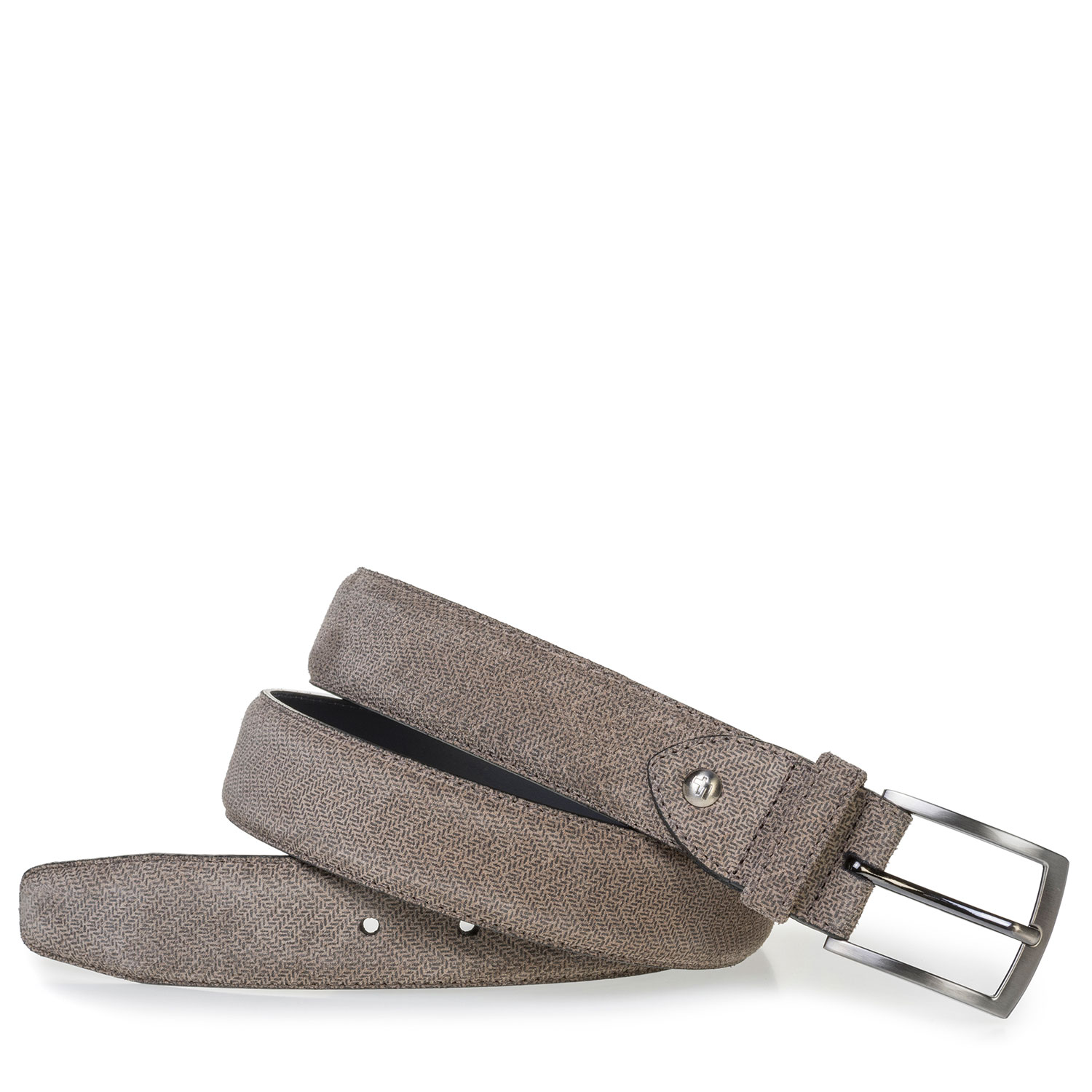 75201/70 - Beige suede leather belt with print