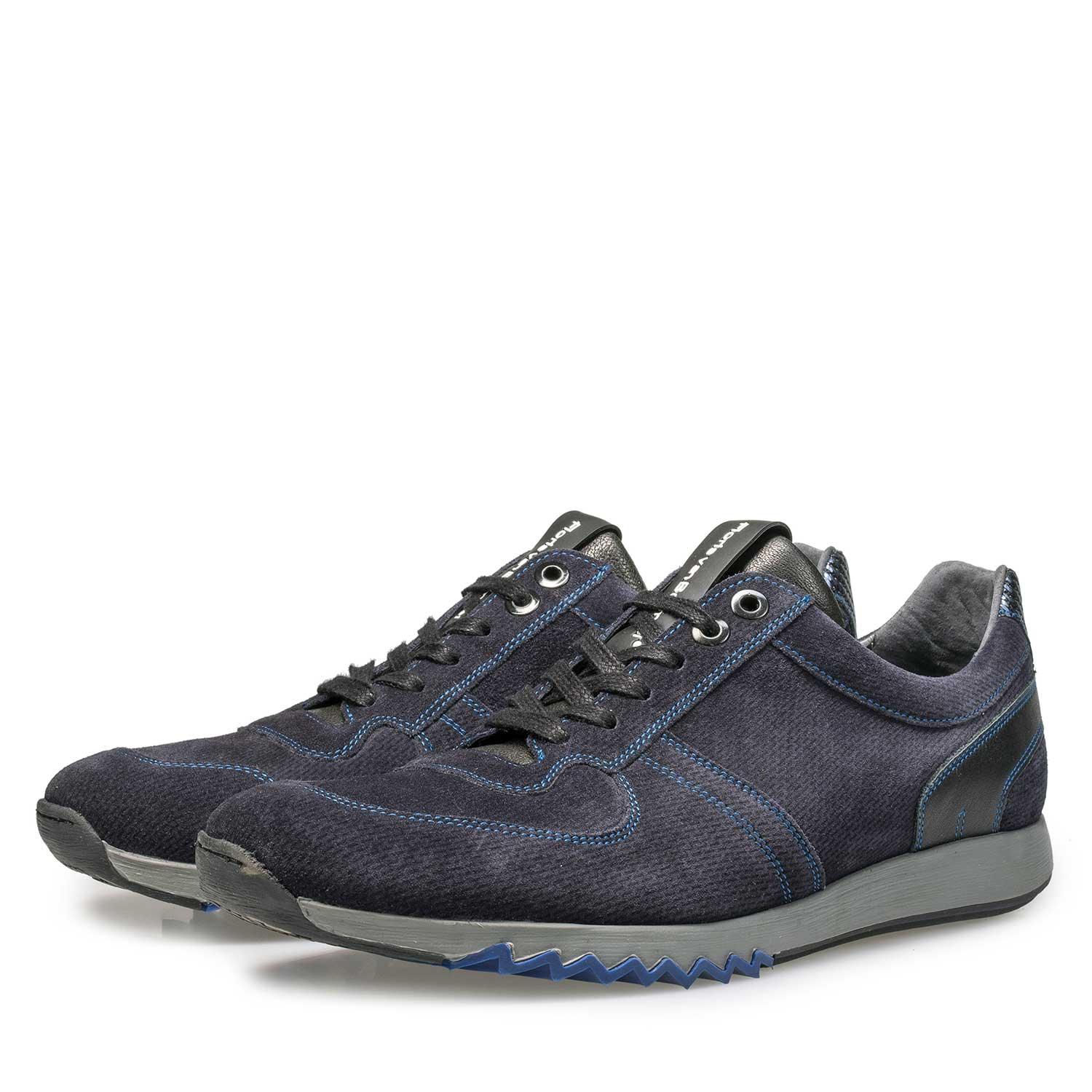 16171/09 - Blue calf's suede leather sneaker with pattern