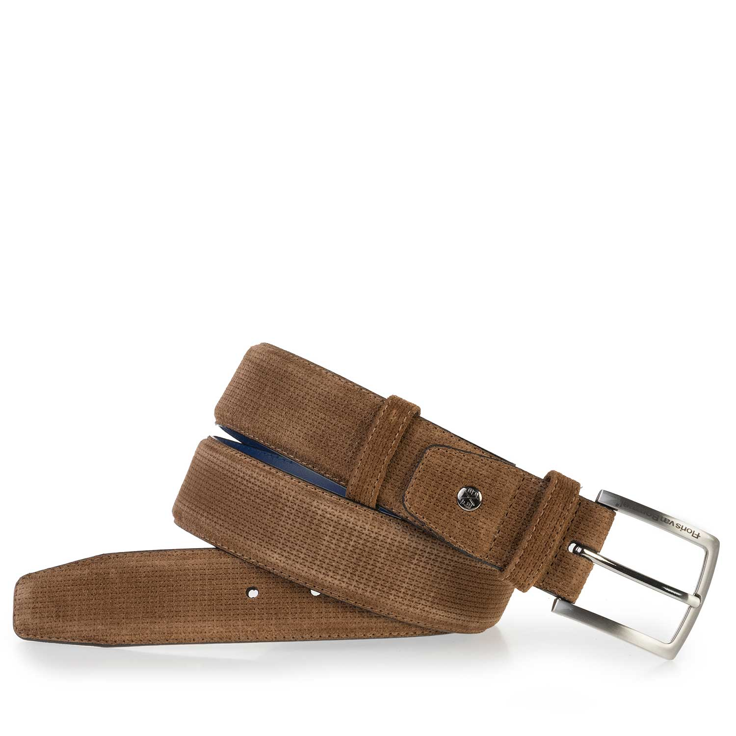 75181/06 - Light brown suede leather belt with pattern