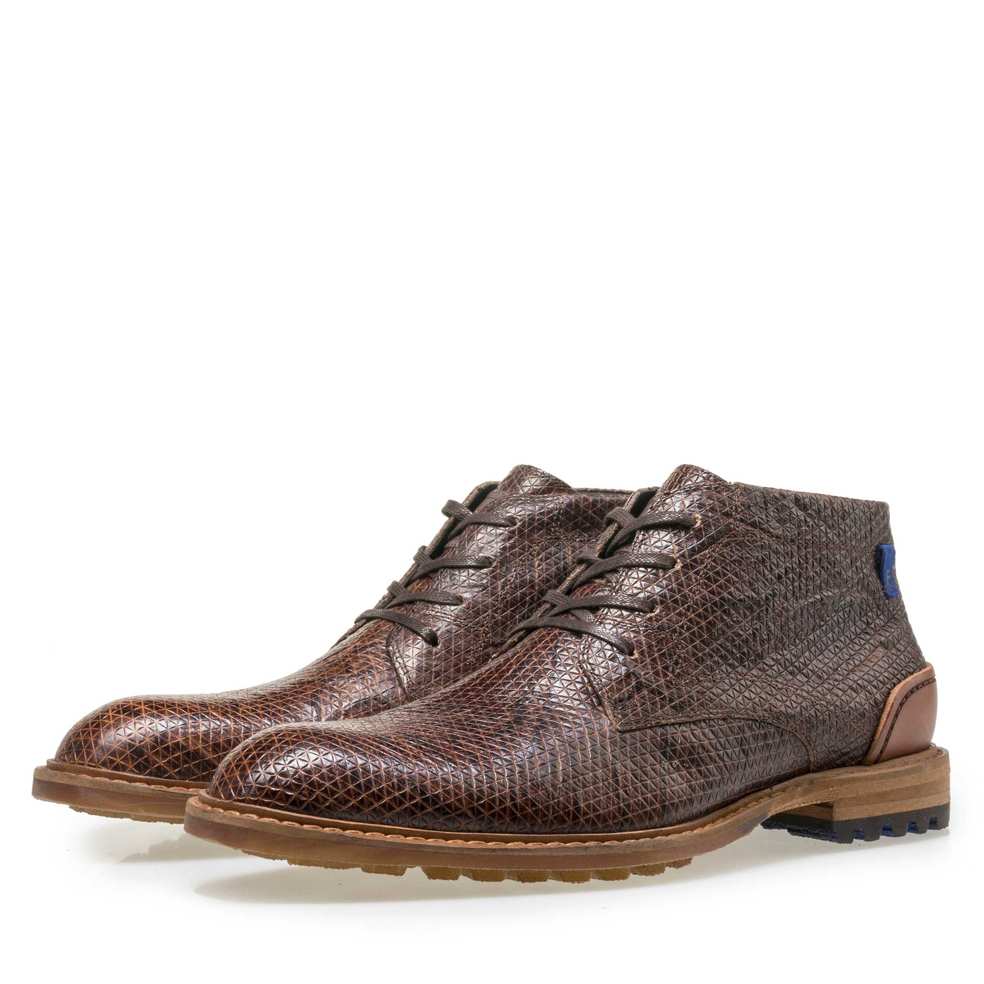 10786/20 - Floris van Bommel men's cognac-coloured leather lace boot finished with a snake print