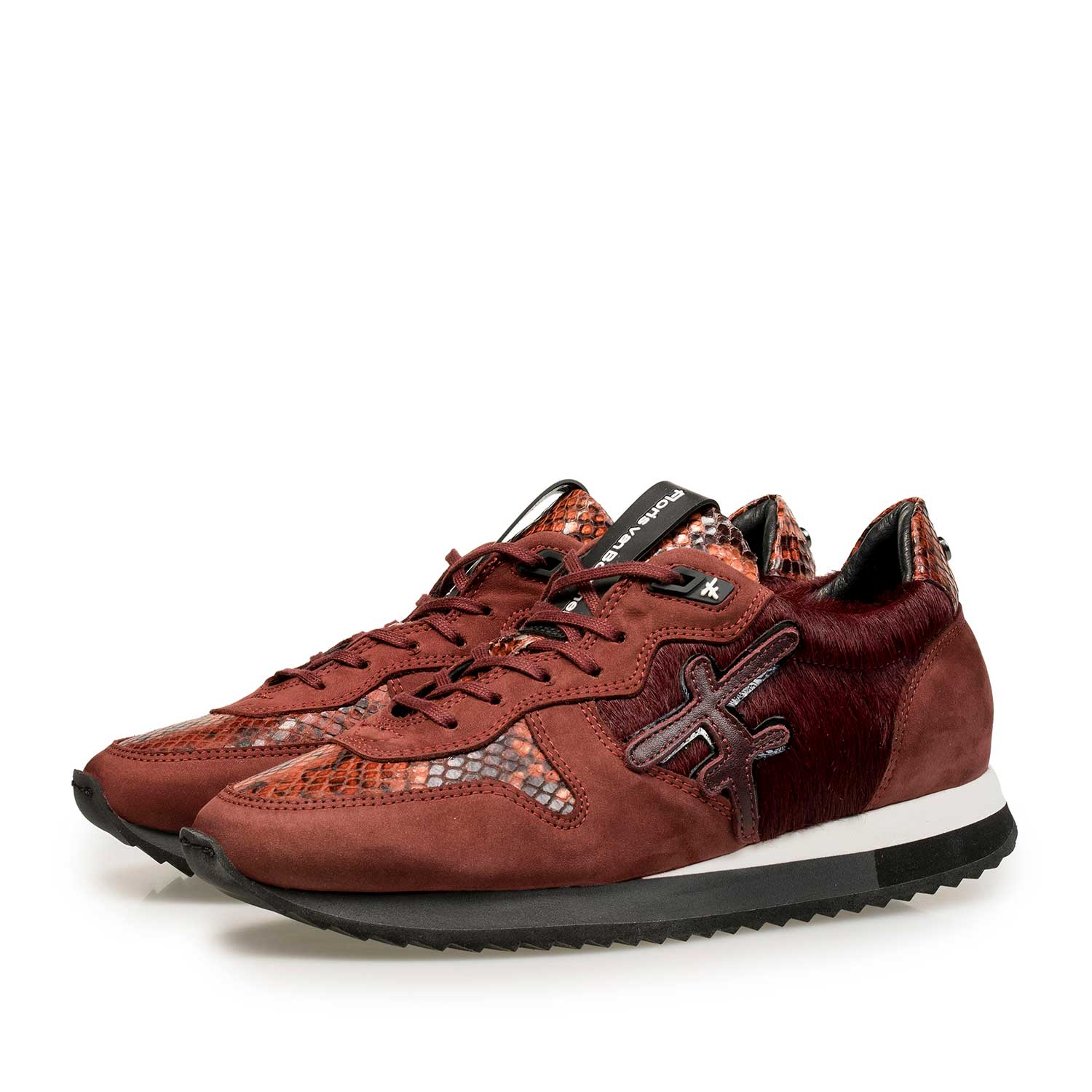85256/00 - Bodeaux red leather sneaker with pony hair