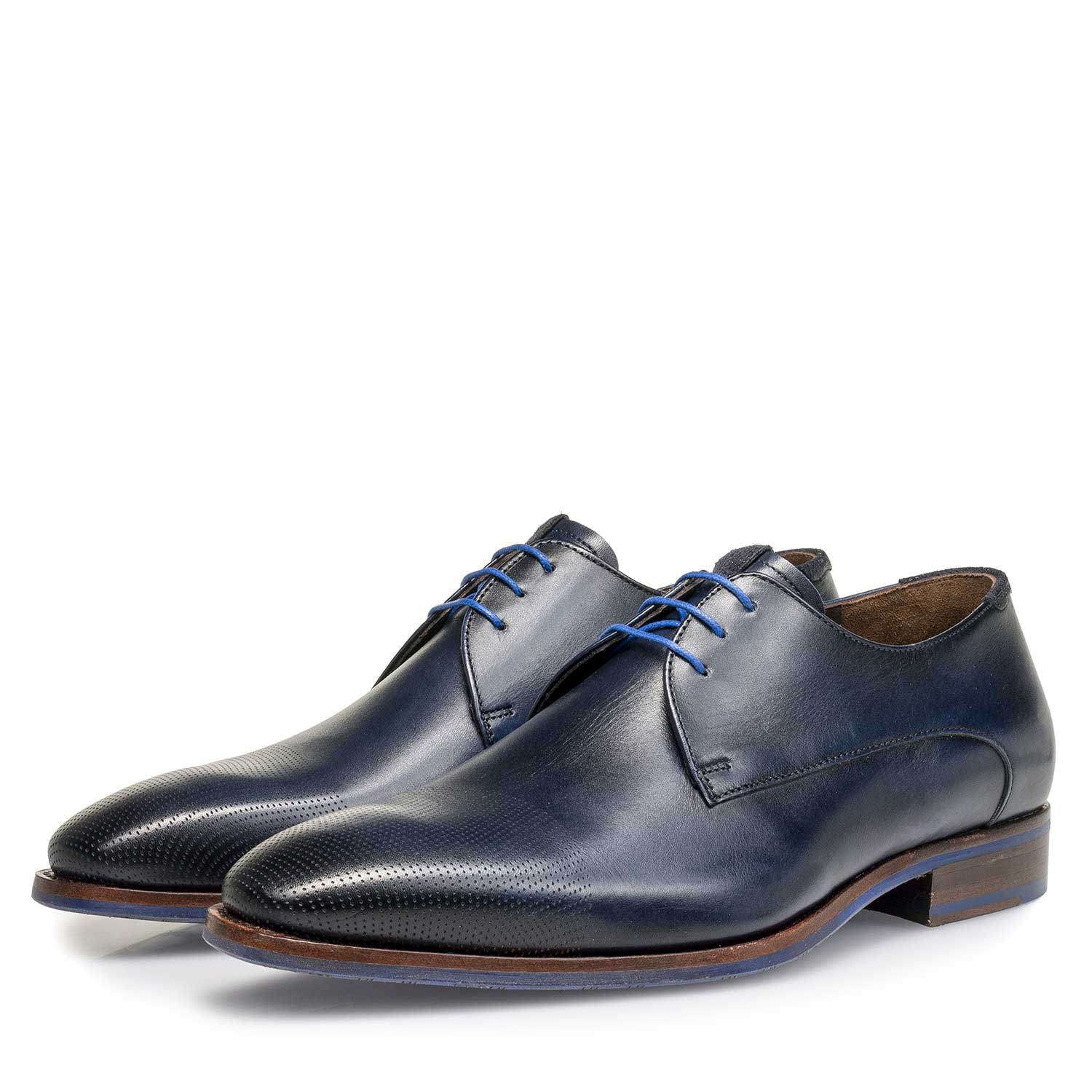 18088/01 - Dark blue calf leather lace shoe
