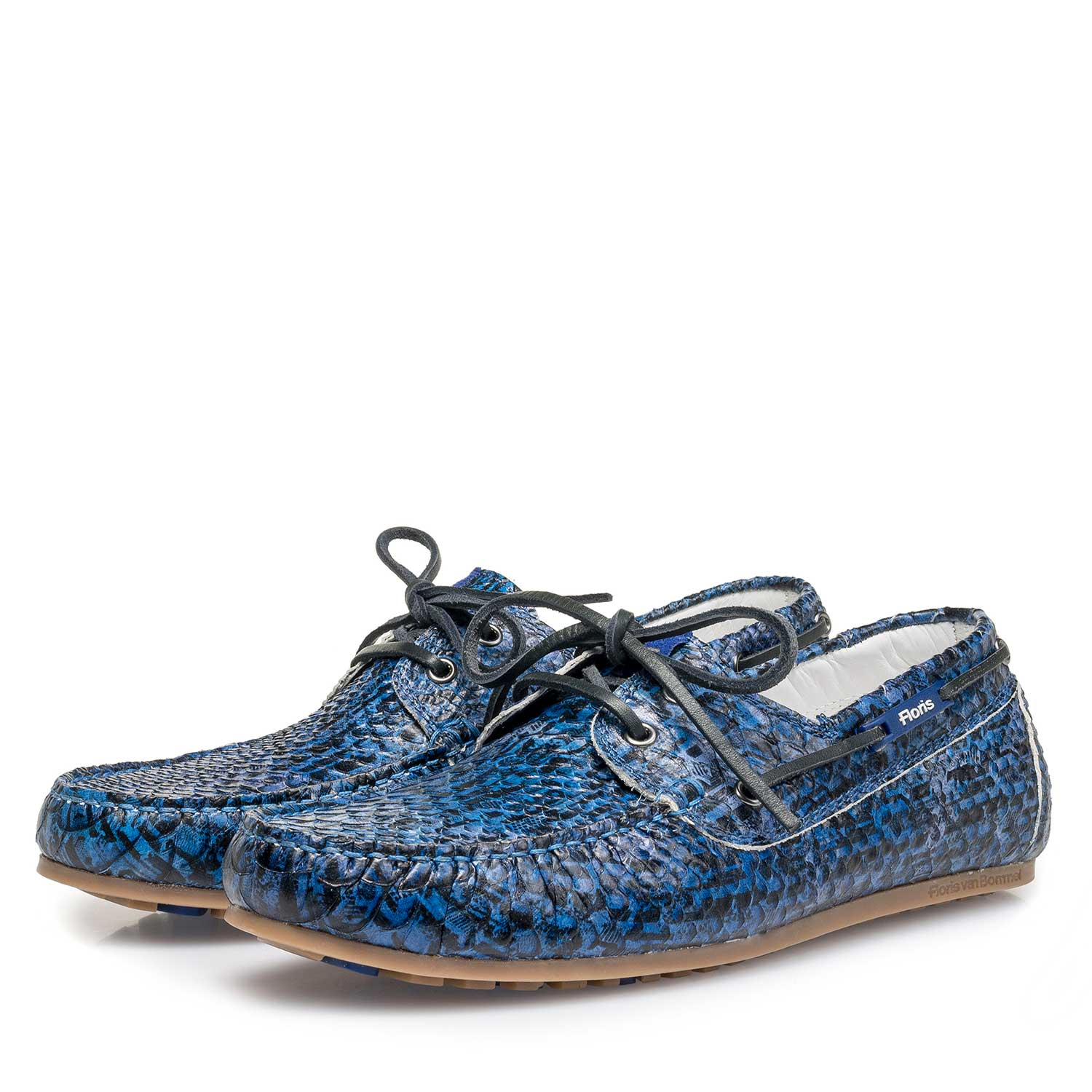 15034/00 - Blue snake print calf leather sailing shoe
