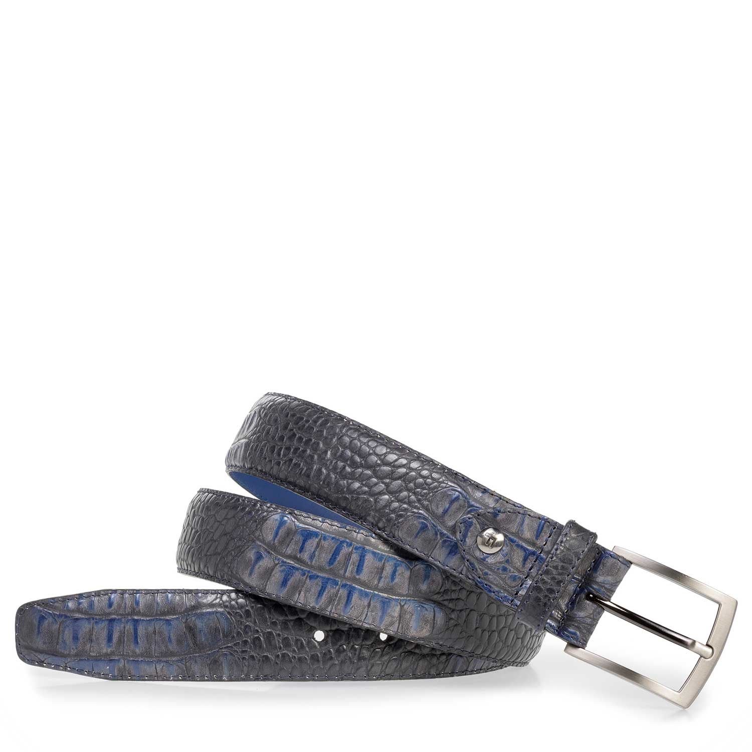 75201/35 - Blue leather belt with croco print