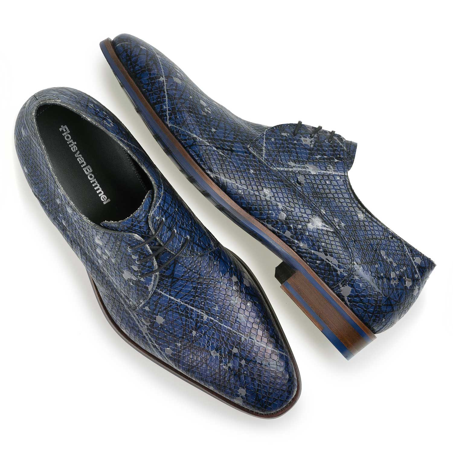 18091/01 - Blue printed calf leather lace shoe