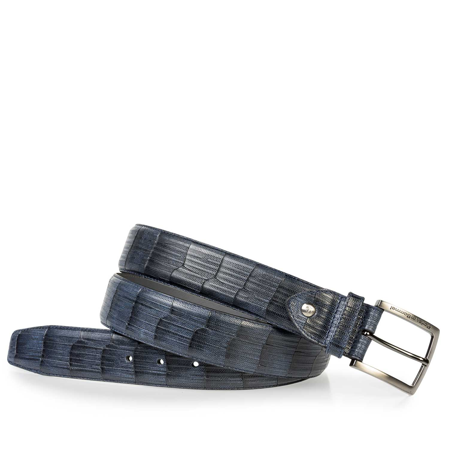 75202/40 - Dark blue leather belt with print