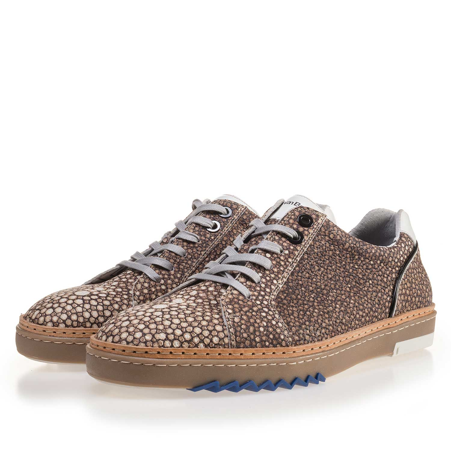 14057/03 - Brown, patterned leather sneaker