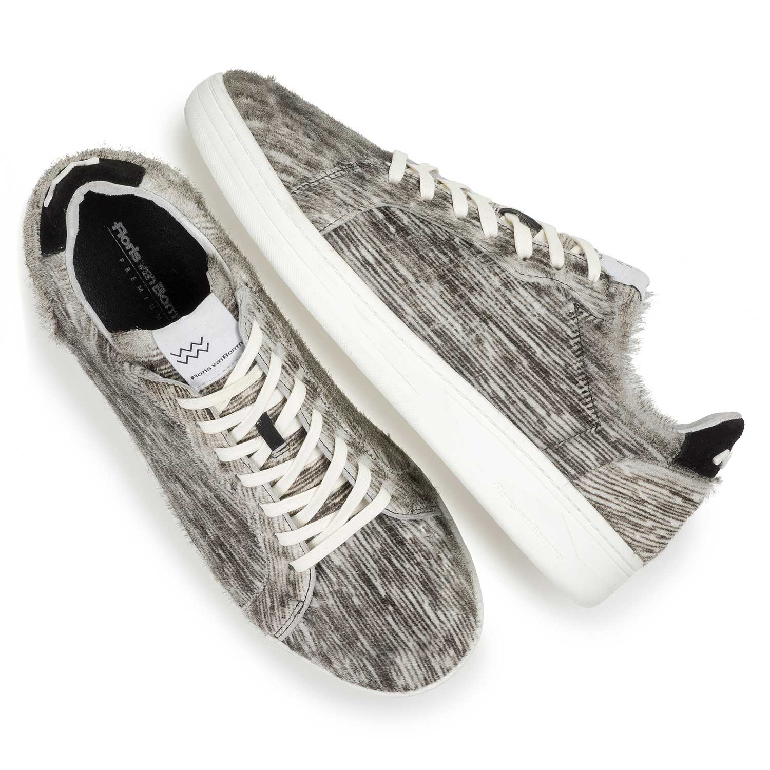 13256/00 - Premium off-white pony hair sneaker with striped pattern