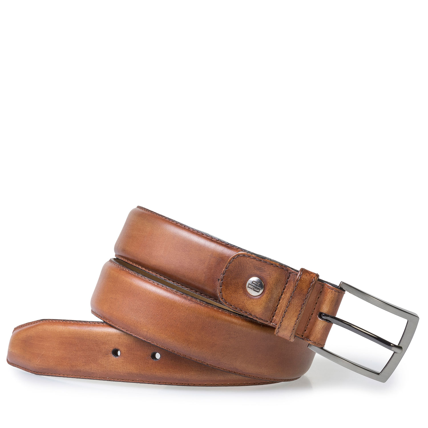 75533/15 - Dark cognac-coloured calf leather belt