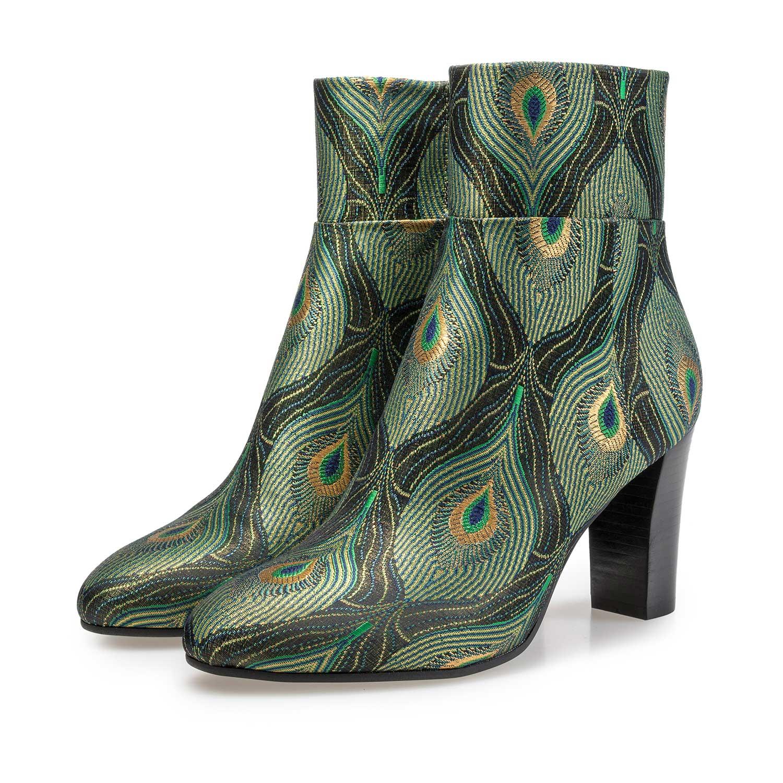 Enkellaars met pauwenprint – groen – 8519609|Floris van Bommel®