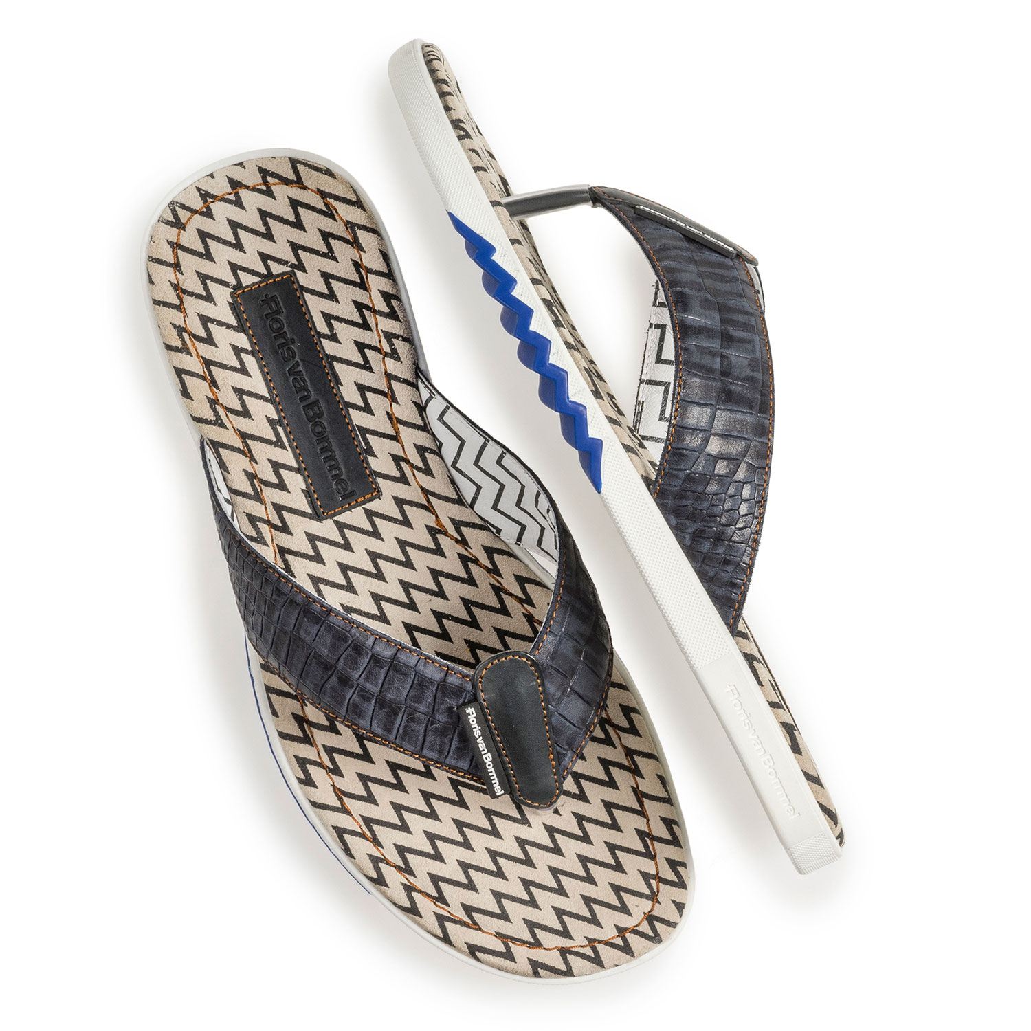 20201/16 - Dark blue thong slipper with croco print