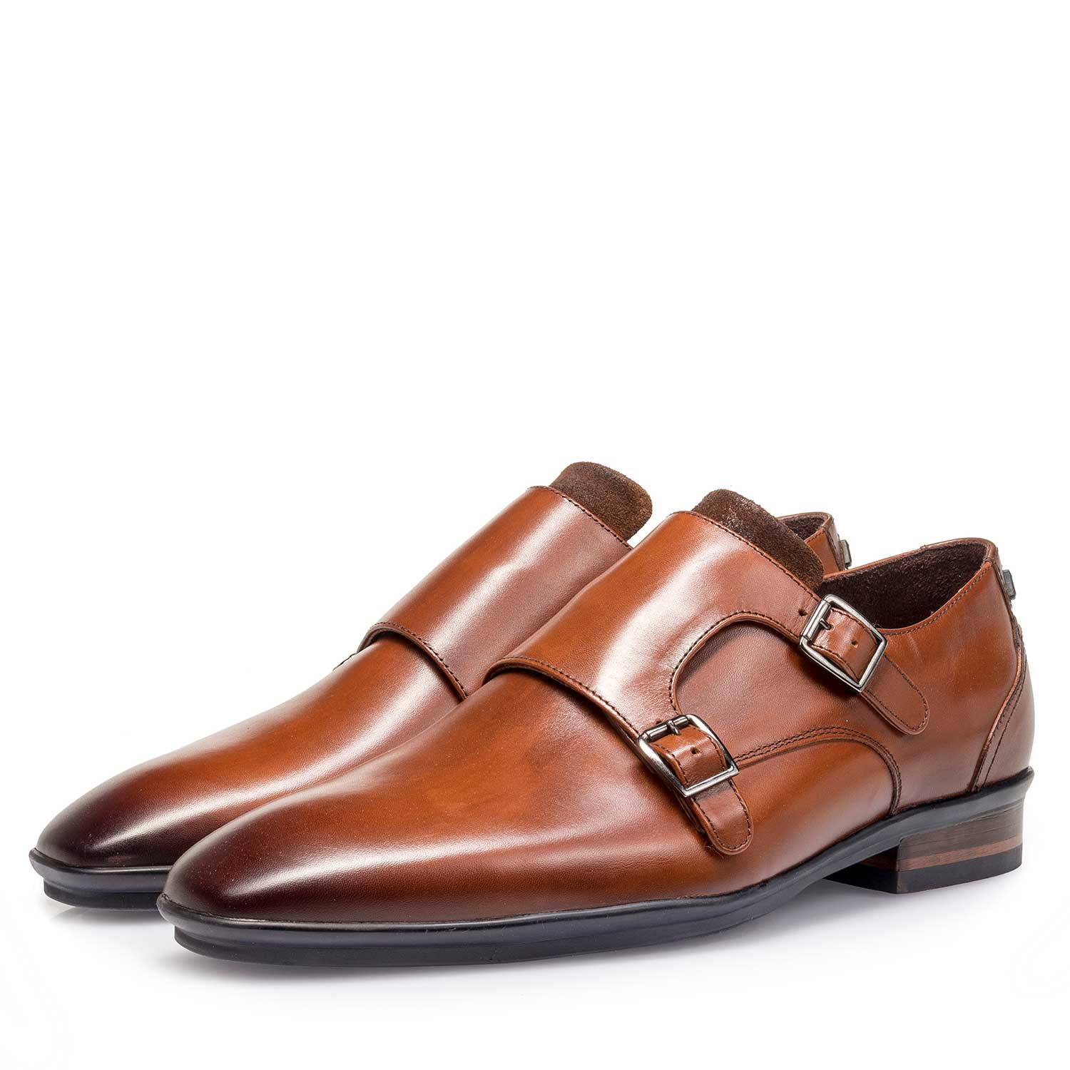 12132/00 - Cognac-coloured calf leather double buckle monk strap