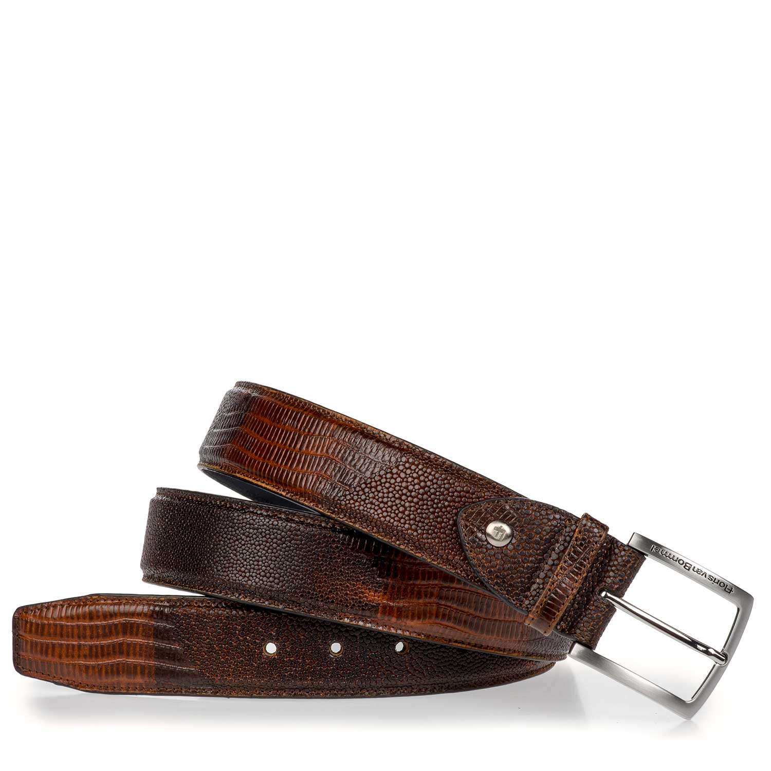75189/45 - Cognac-coloured leather belt with lizard print