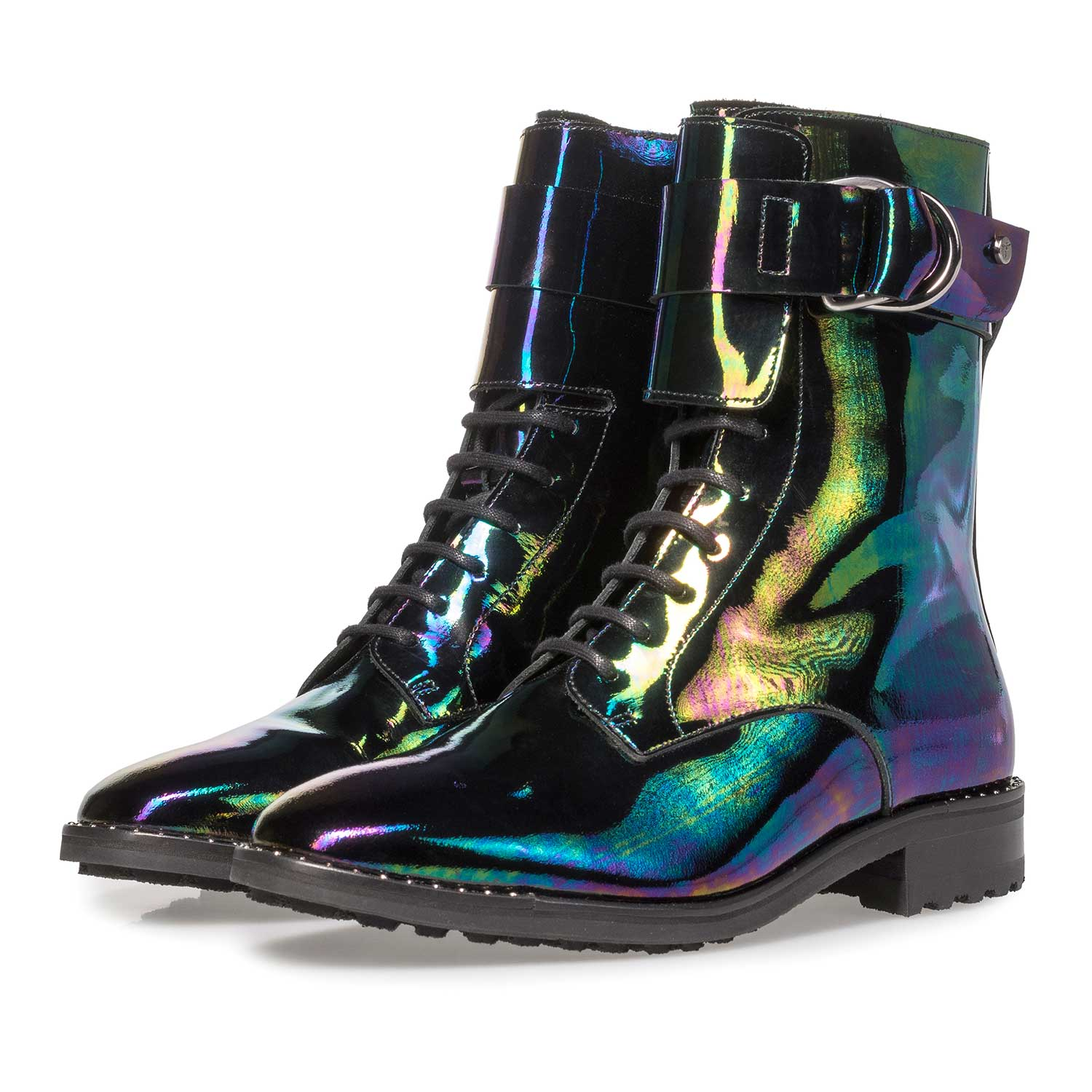 85711/00 - Multi-coloured patent leather lace boot