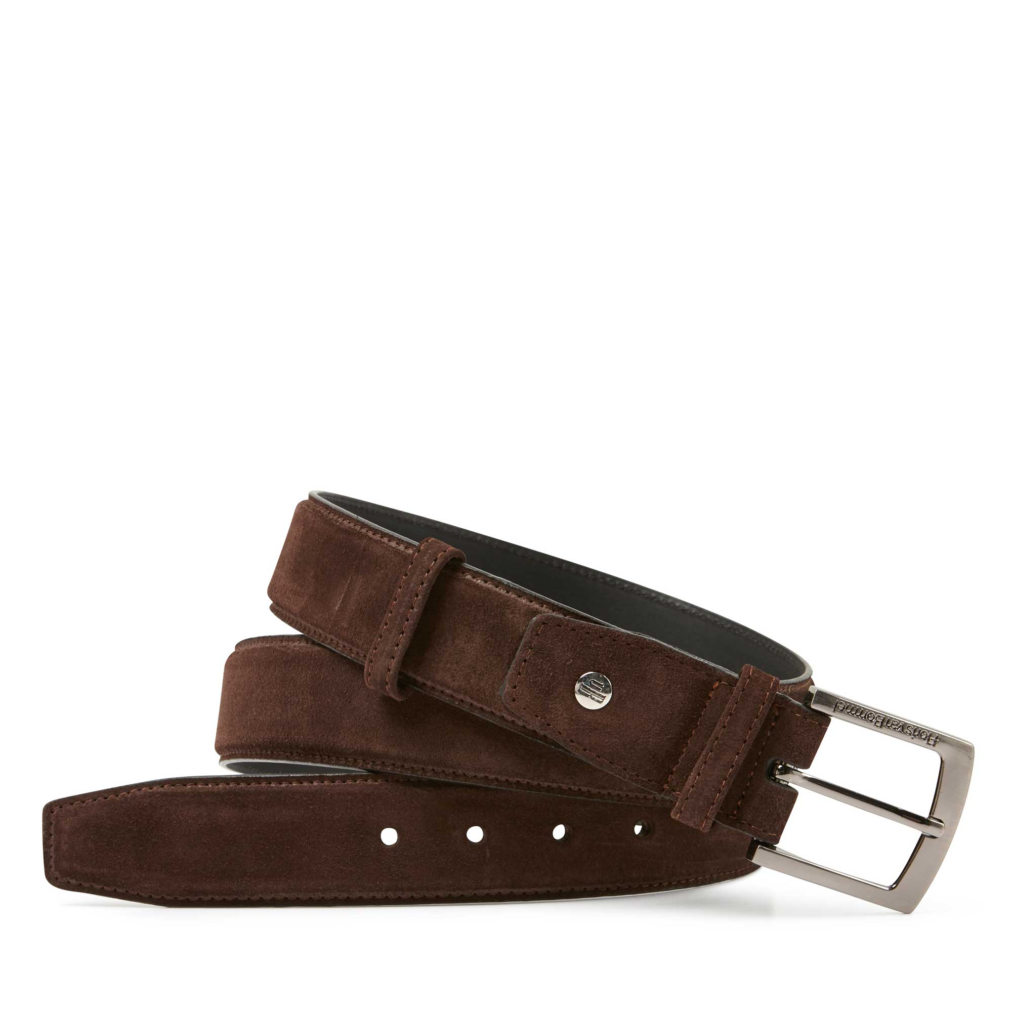 75150/02 - Floris van Bommel dark brown suede men's belt