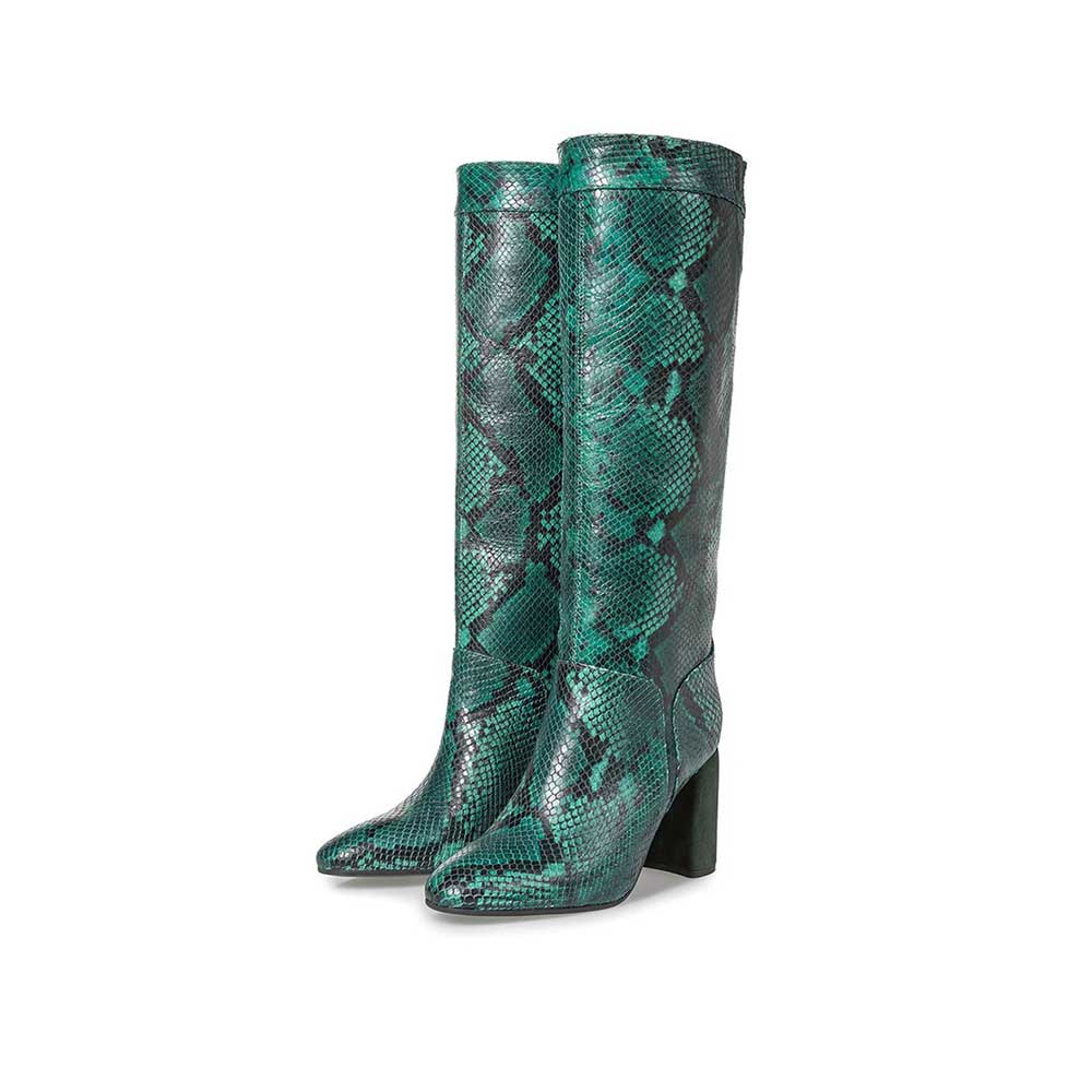 85708/01 - Green high boots with snake print