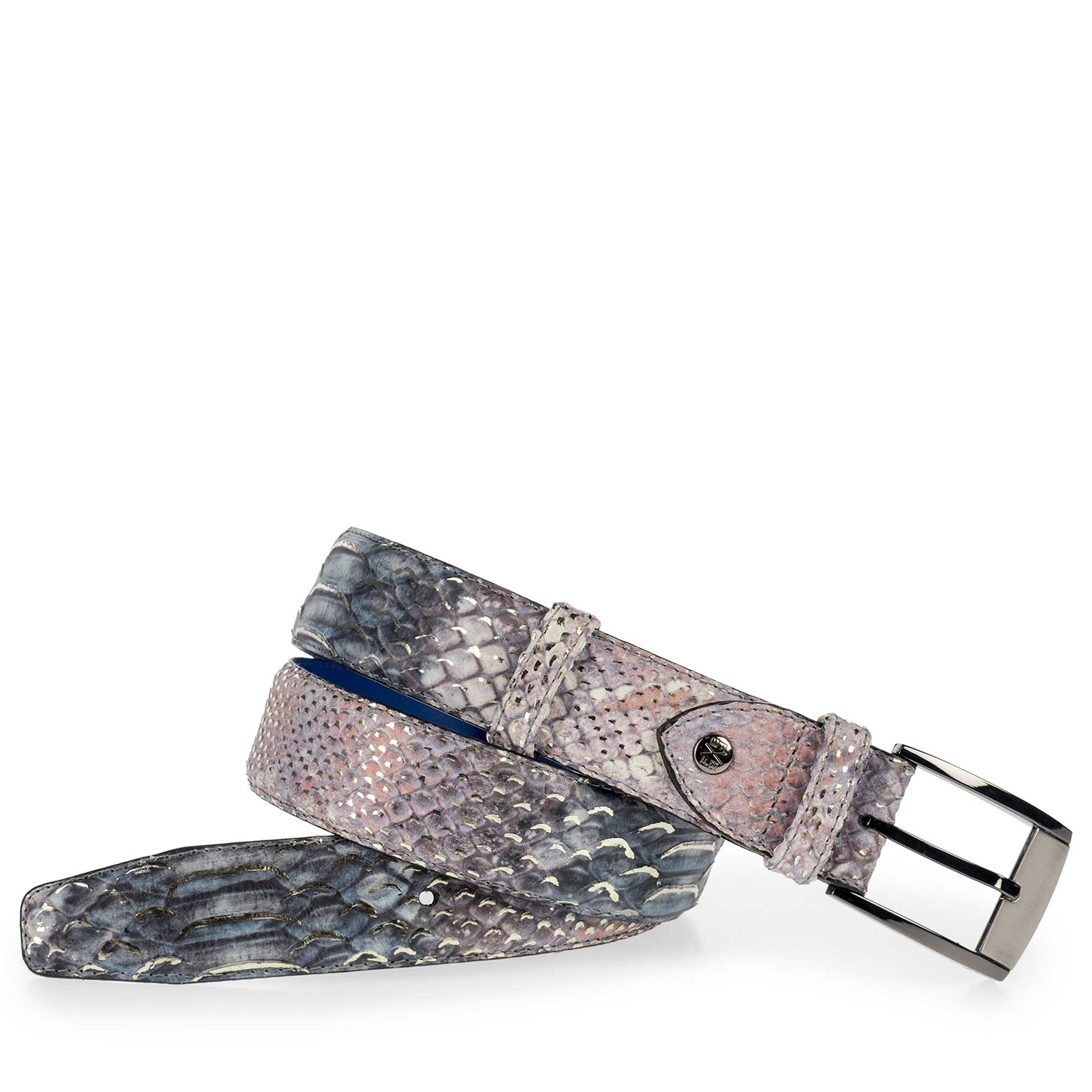 75180/38 - Premium blue leather belt with a snake print