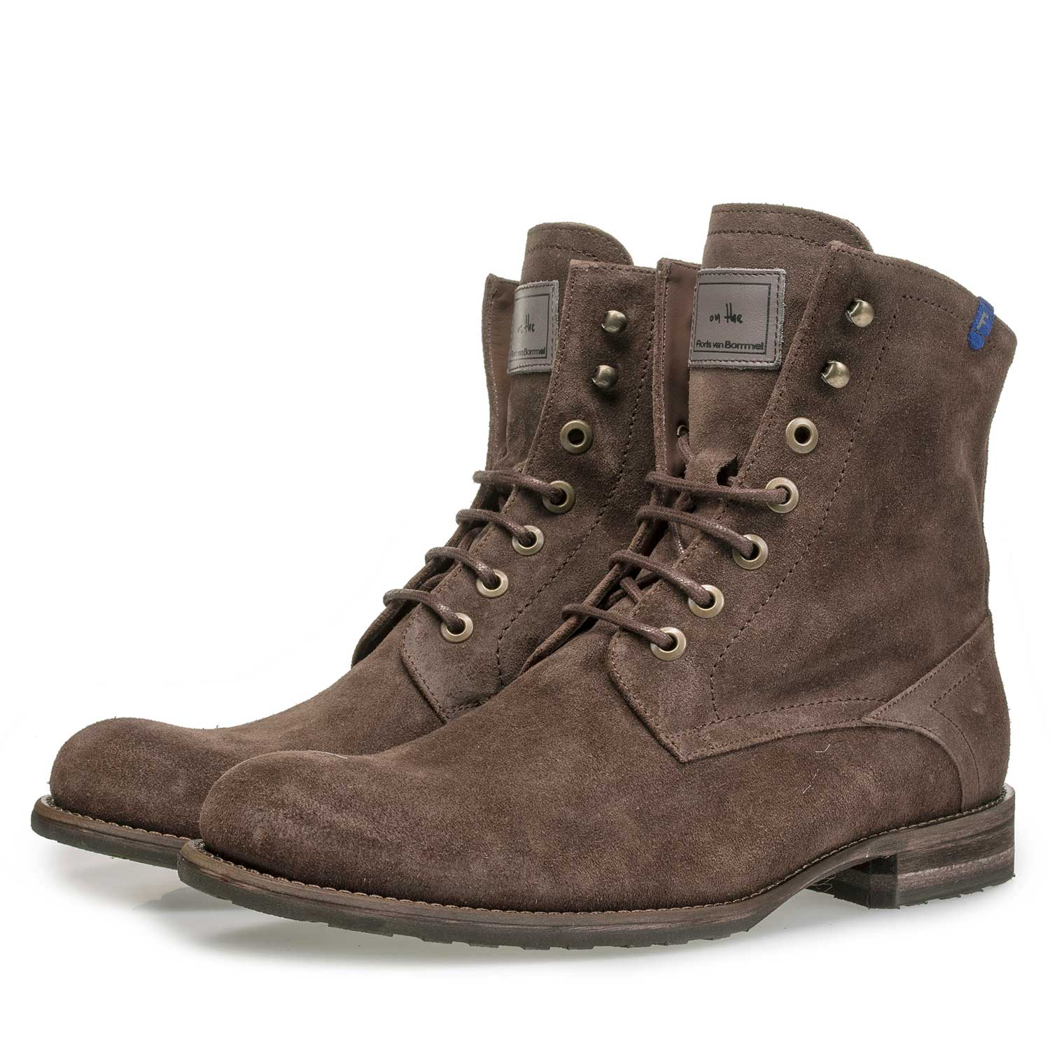 10751/13 - Dark brown suede leather lace boot