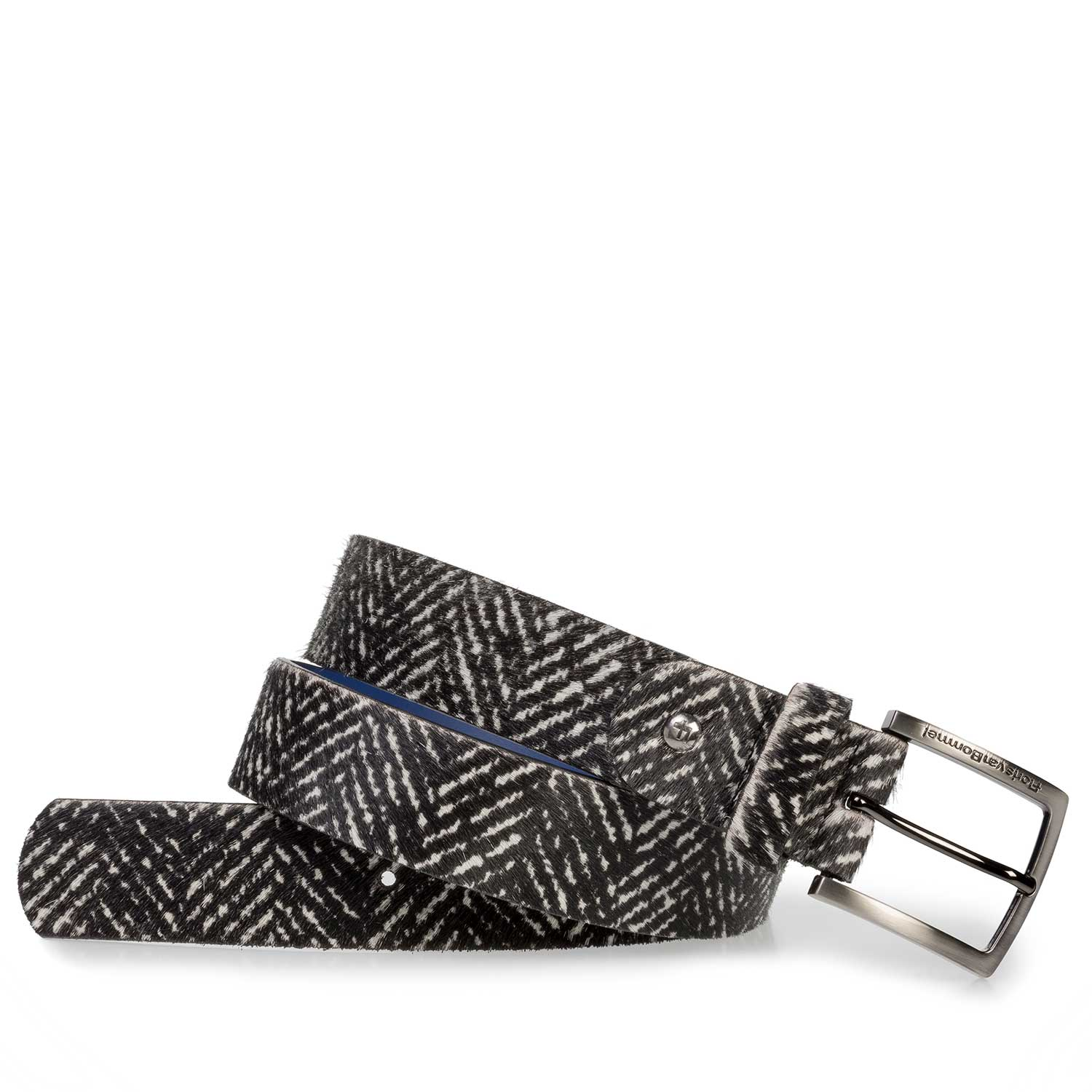 75191/15 - Premium off-white printed pony hair belt