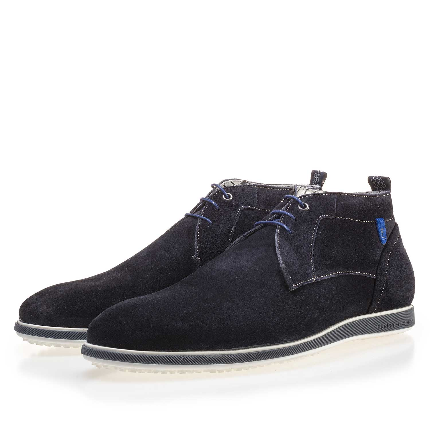 10055/00 - Dark blue suede leather lace boot