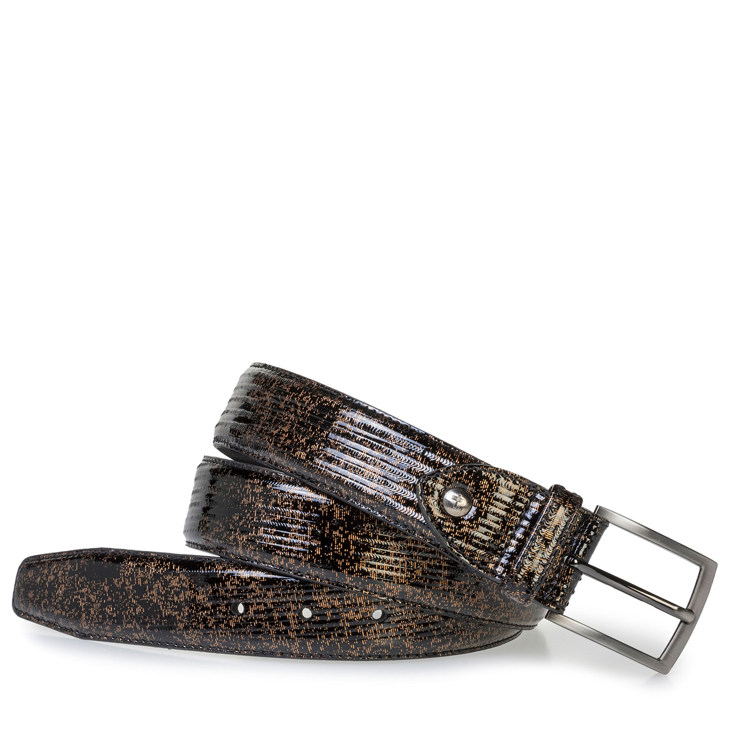 75203/01 - Brown patent leather belt with metallic print