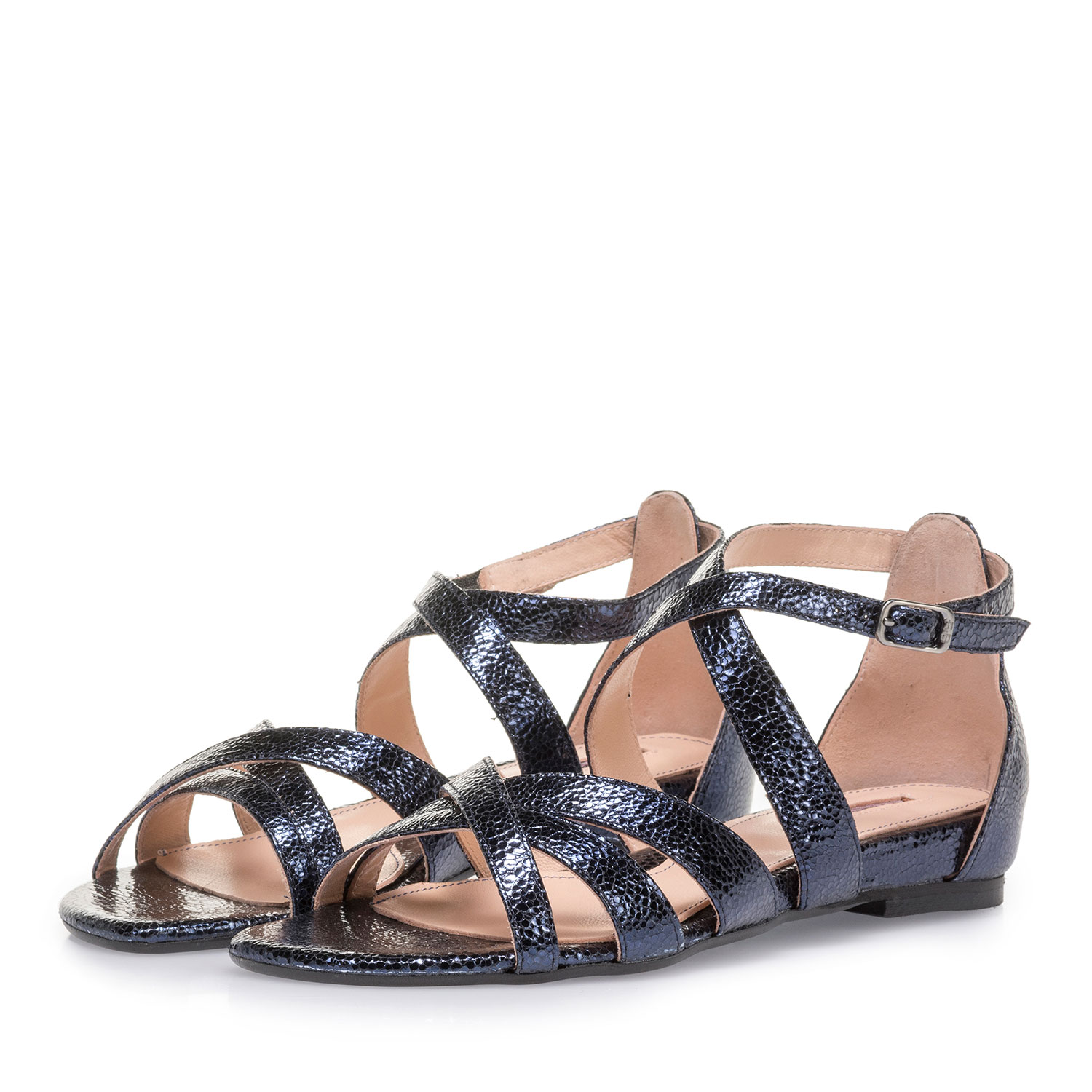 85956/03 - Dark blue sandals with metallic print