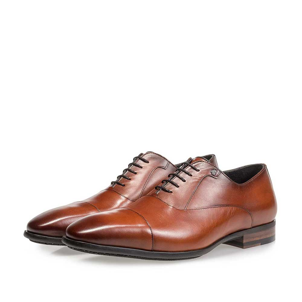 16218/04 - Dark cognac-coloured calf leather lace shoe