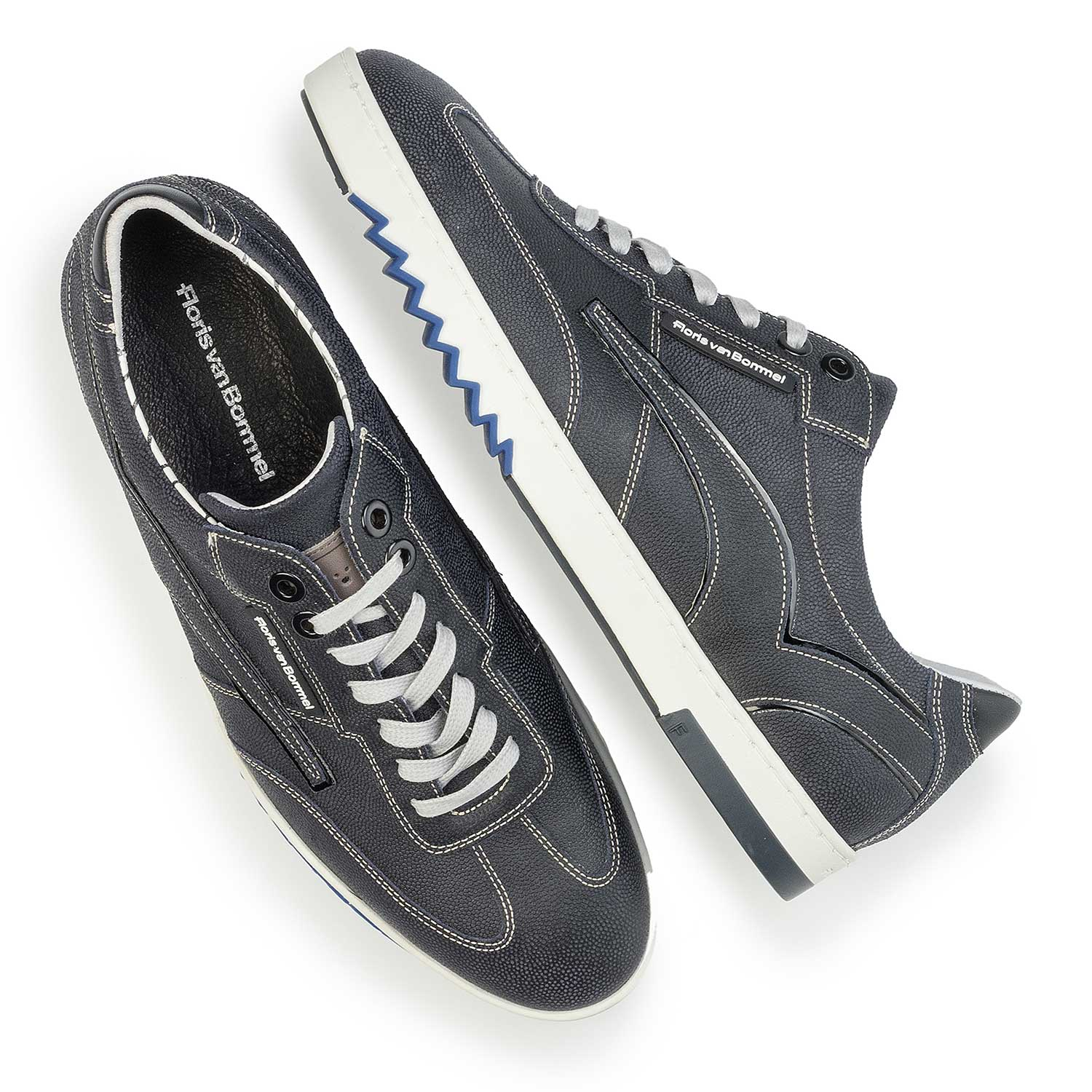 16074/27 - Dark blue patterned suede leather sneaker