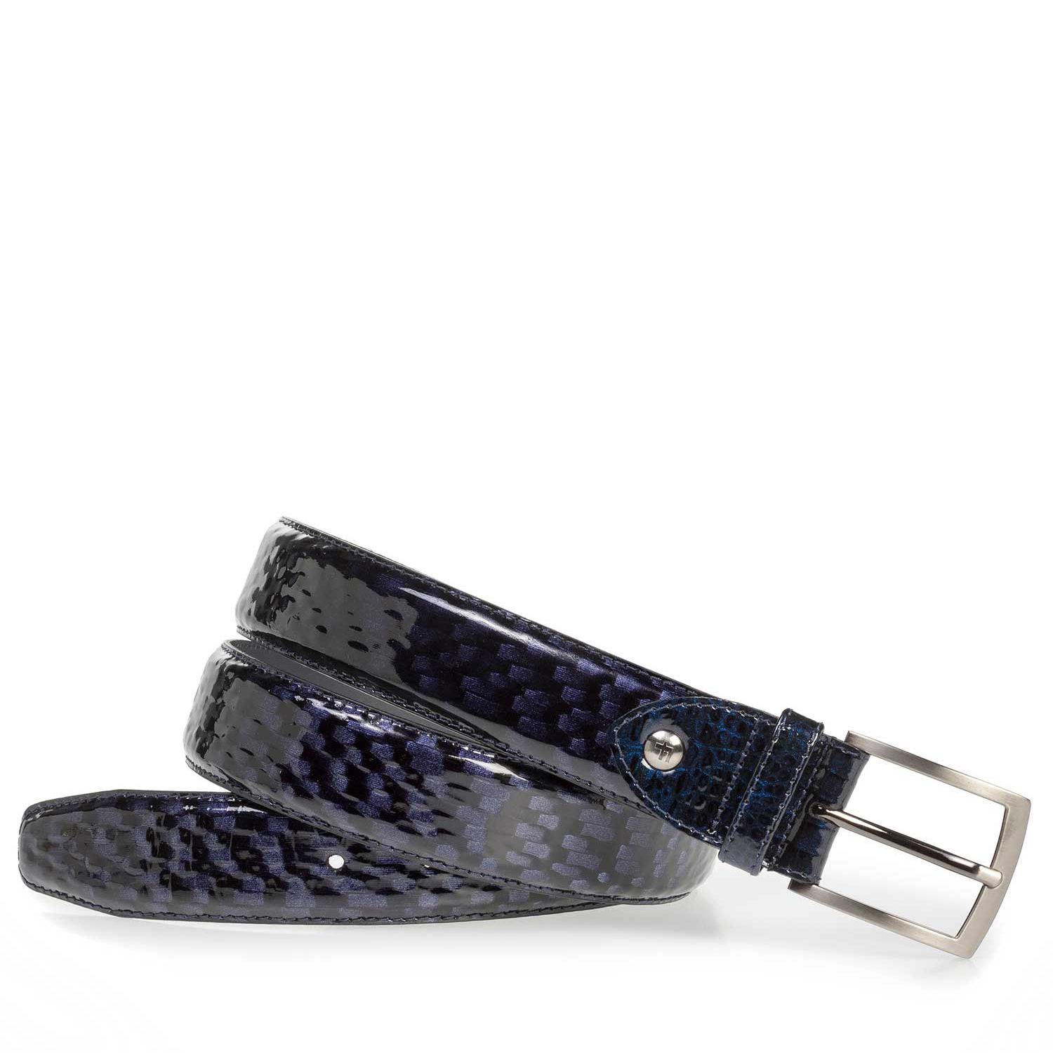75201/40 - Premium blue printed patent leather belt
