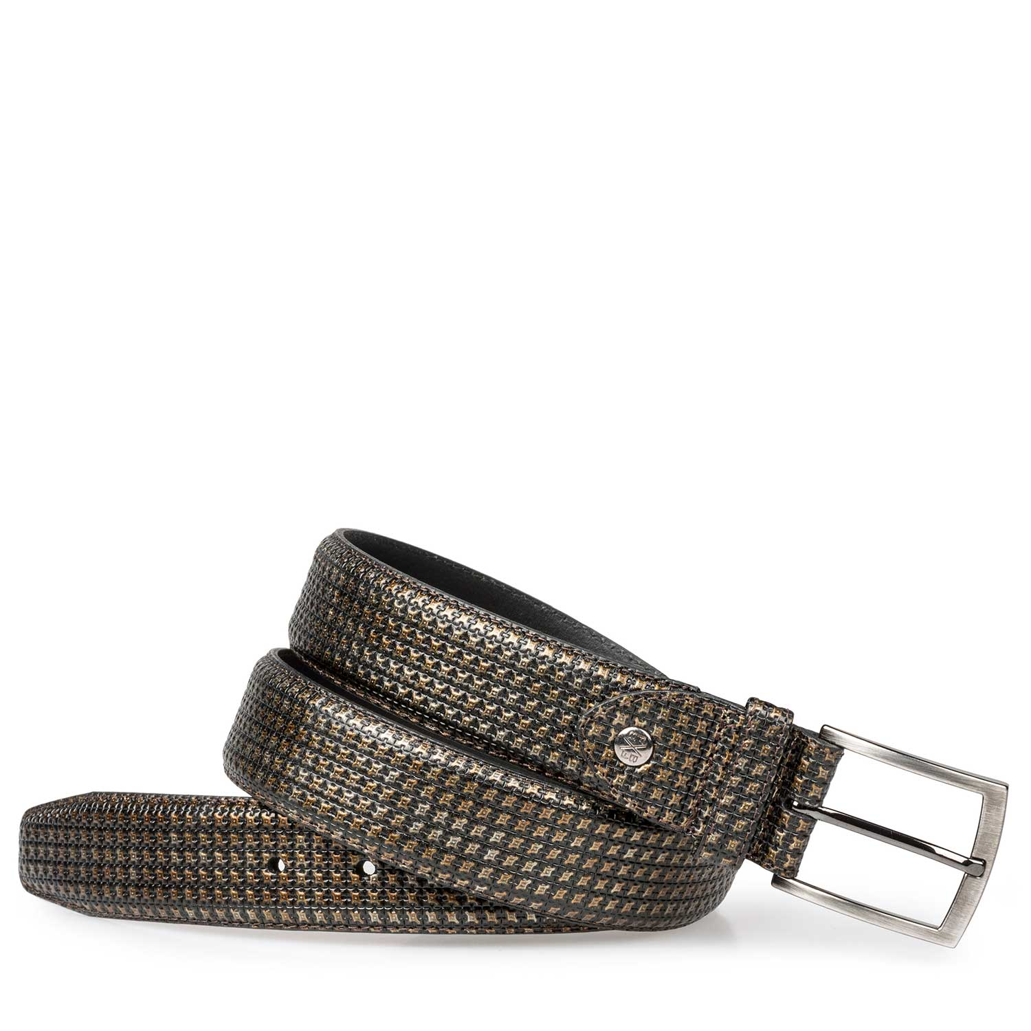 75190/25 - Bronze-coloured calf's leather belt with structural pattern