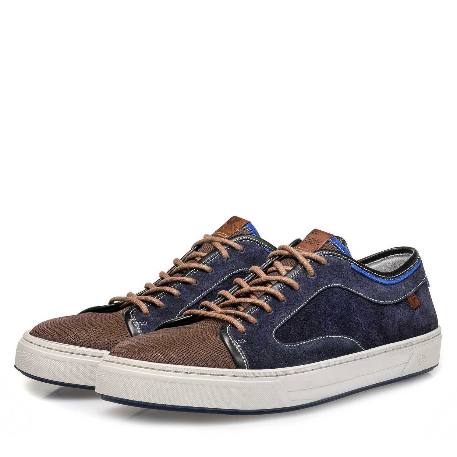 13466/10 - Dark grey & blue lizard print suede leather sneaker