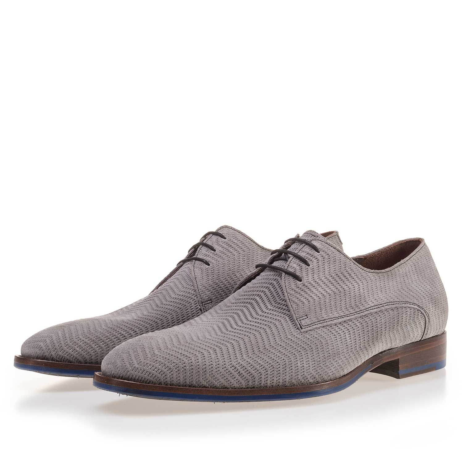 14146/04 - Grey suede lace shoe with pattern