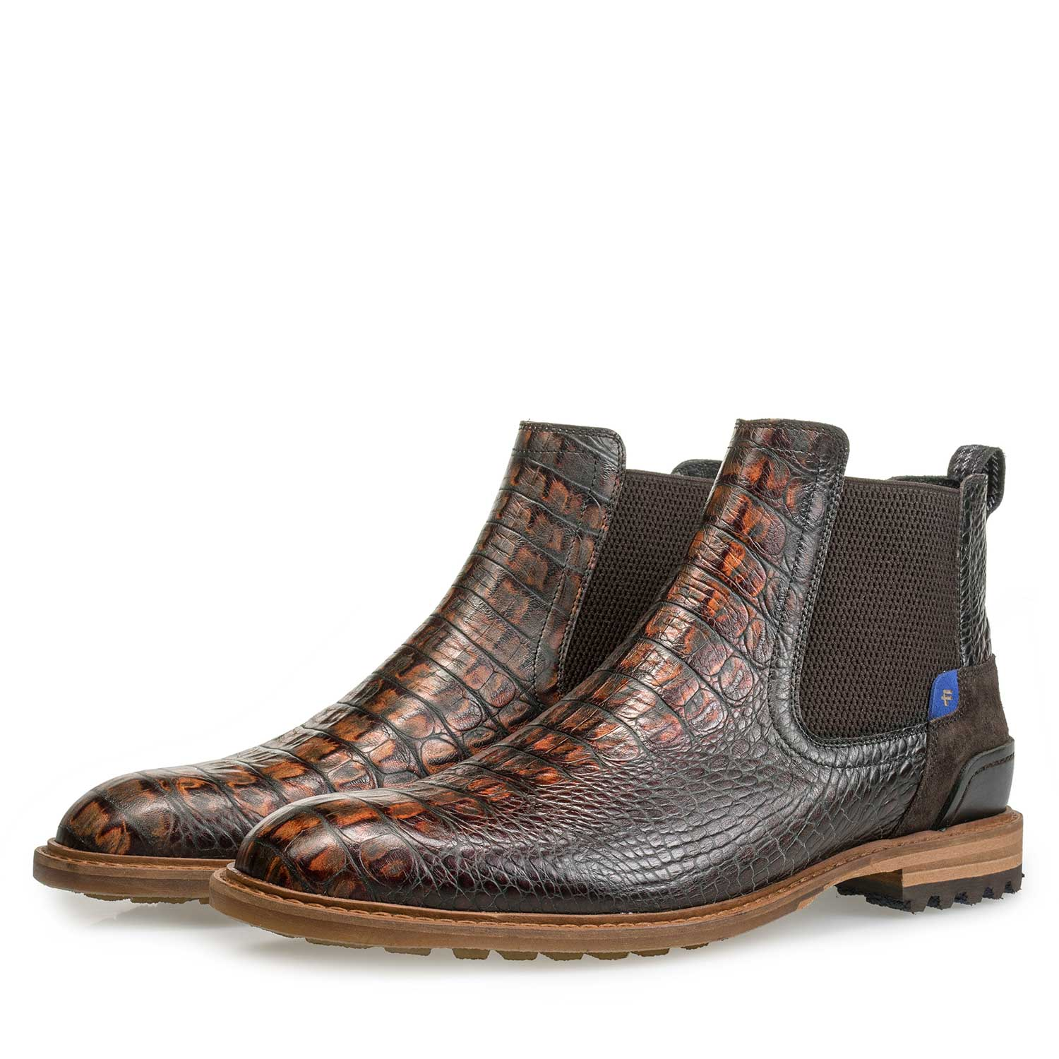 10230/12 - Brown calf's leather Chelsea boot with croco print