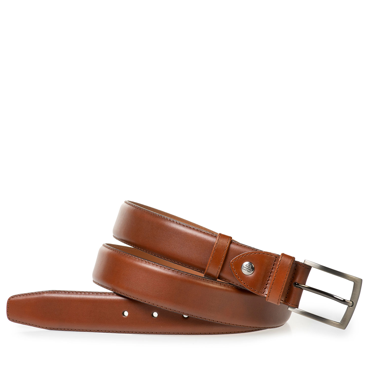 75524/02 - Dark cognac-coloured calf leather belt