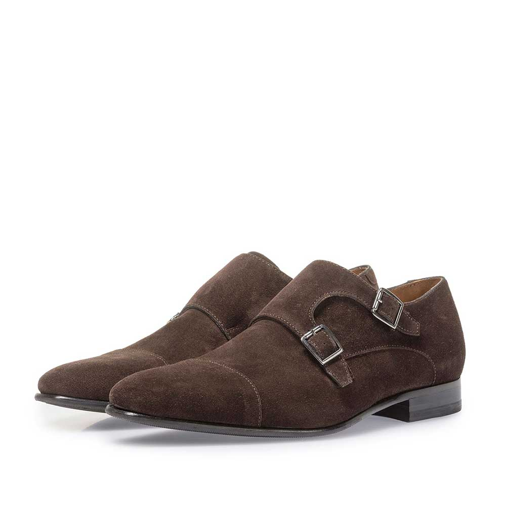 12295/08 - Dark brown suede leather double monk
