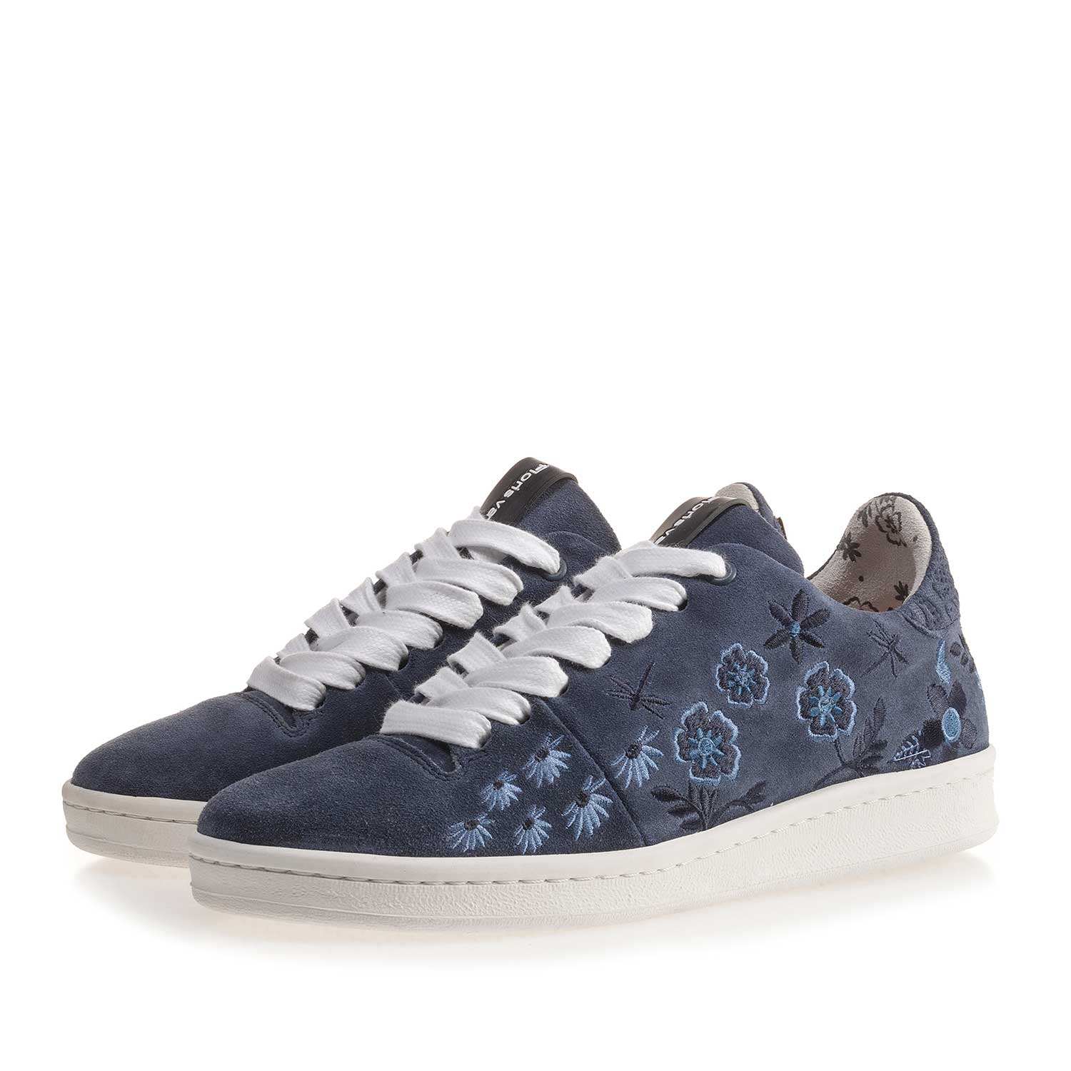 85235/00 - Dark blue suede leather sneaker with floral embroidery stitching