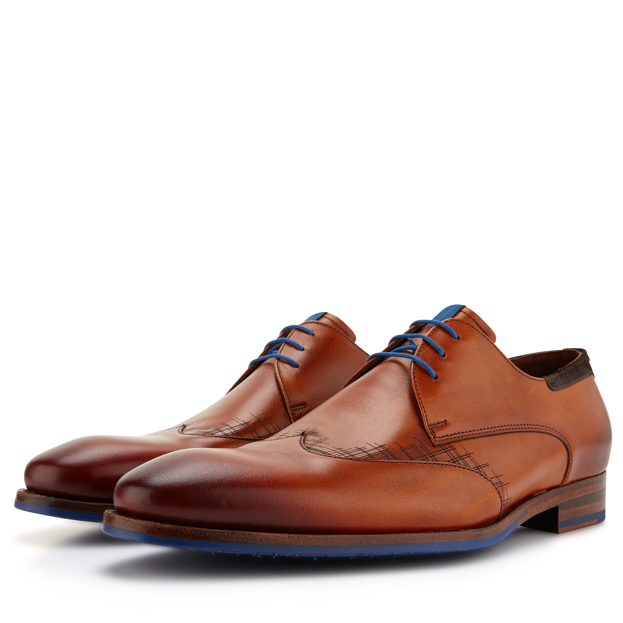 14029/00 - Floris van Bommel cognac leather men's lace shoe