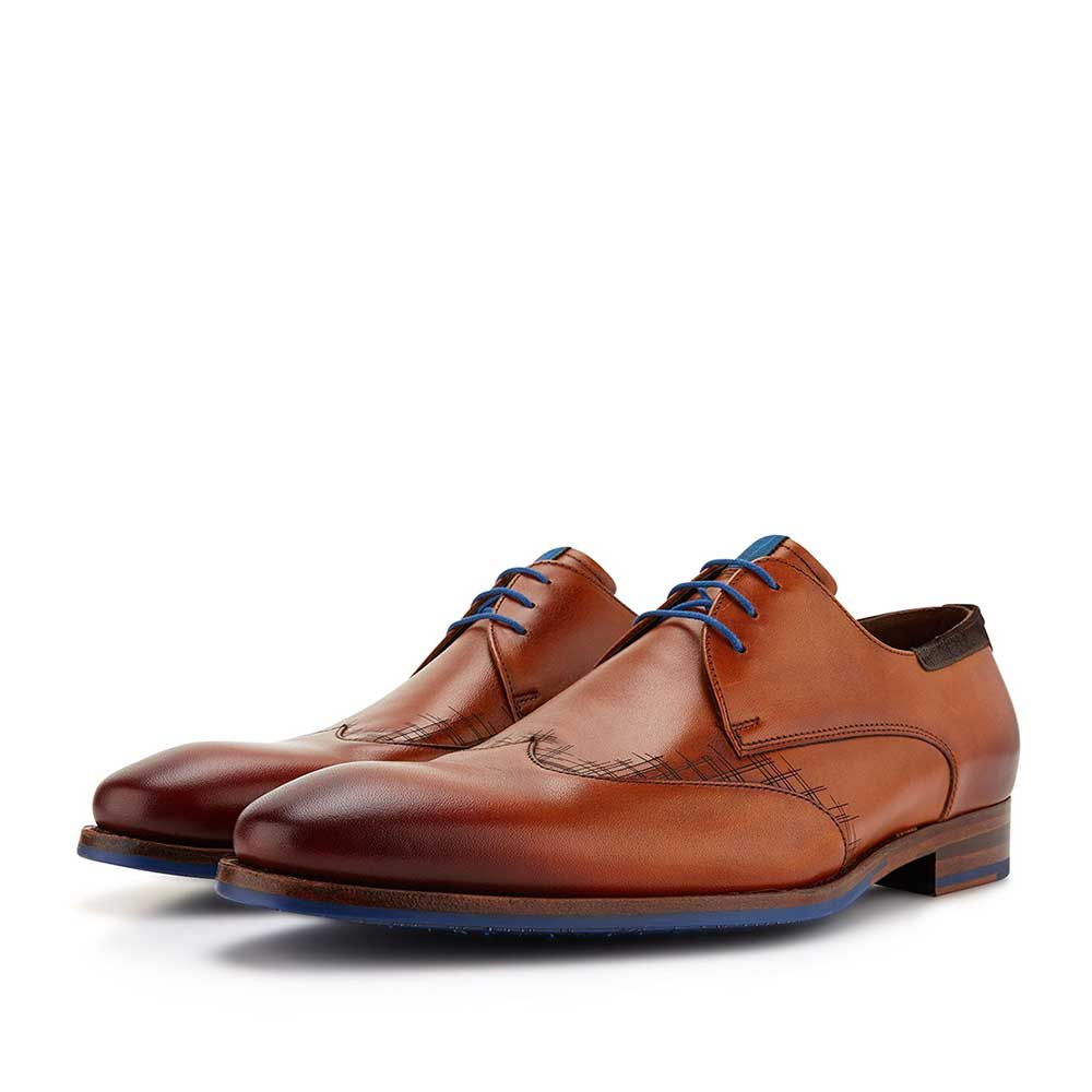 14029/00 - Cognac-coloured calf's leather lace shoe