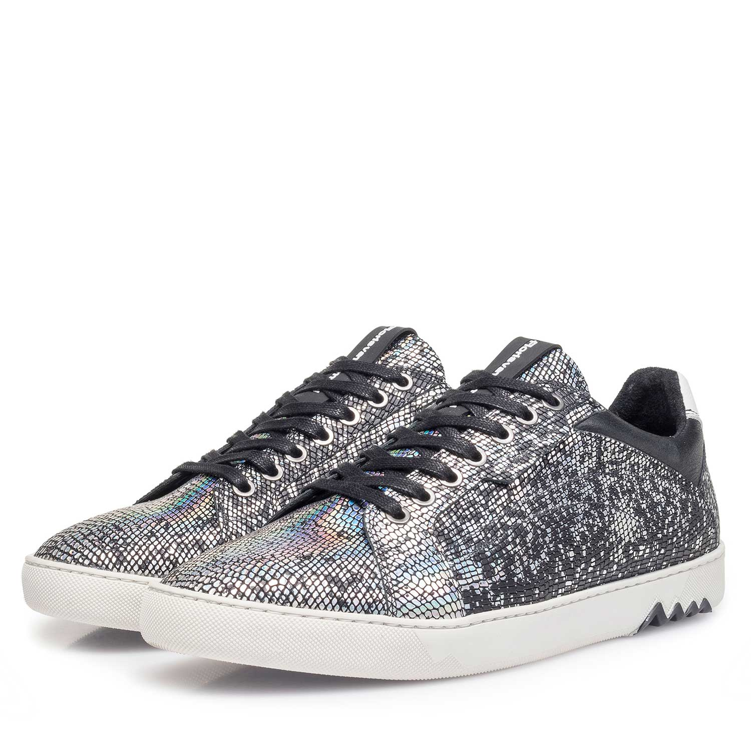 13342/00 - Silver-coloured premium leather lace shoe with metallic print