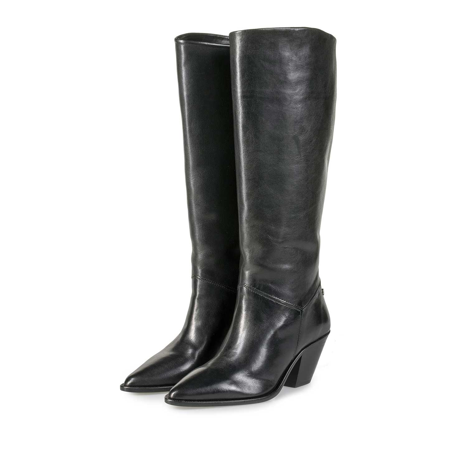 85705/00 - High black calf leather western boot