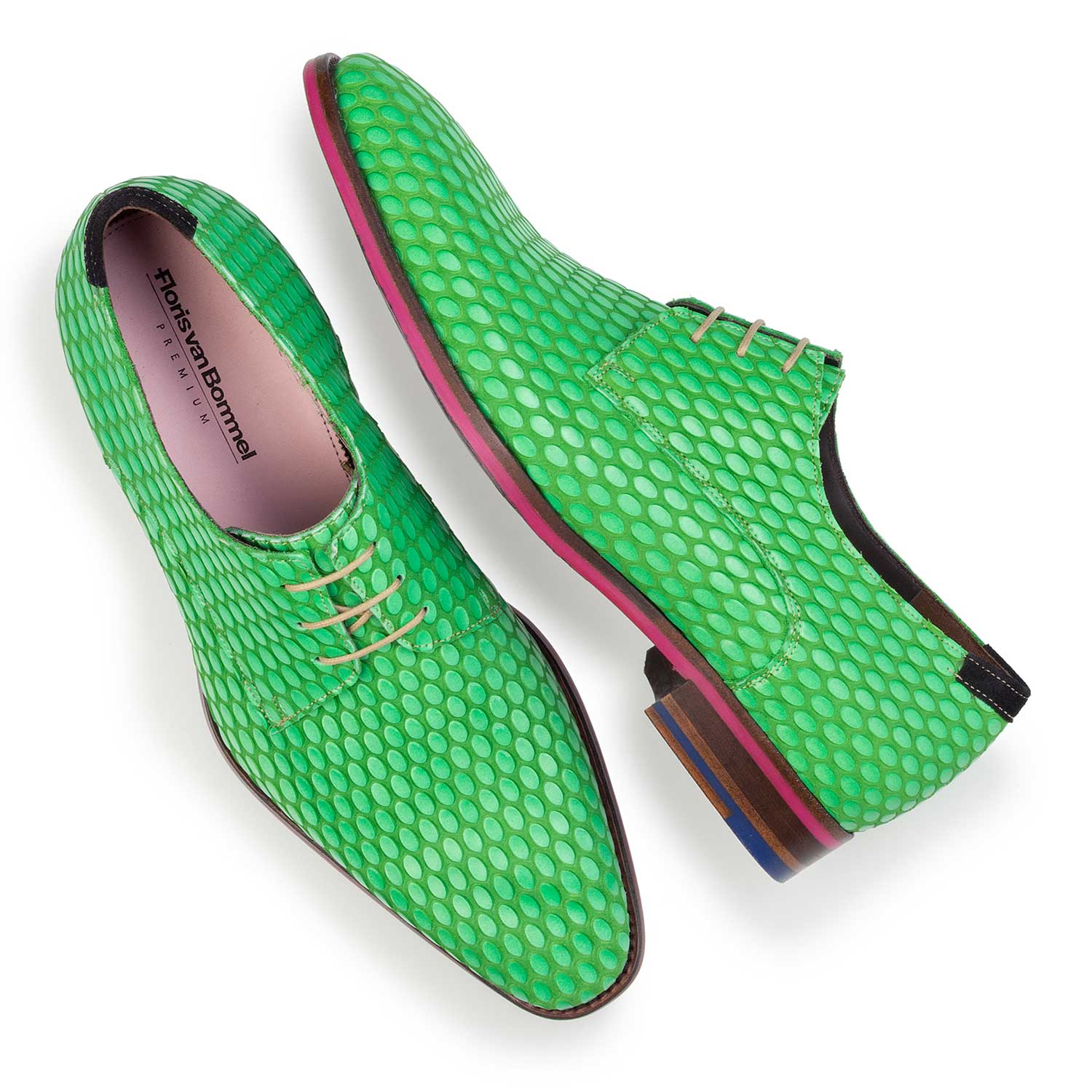 14157/00 - Premium green leather lace shoe