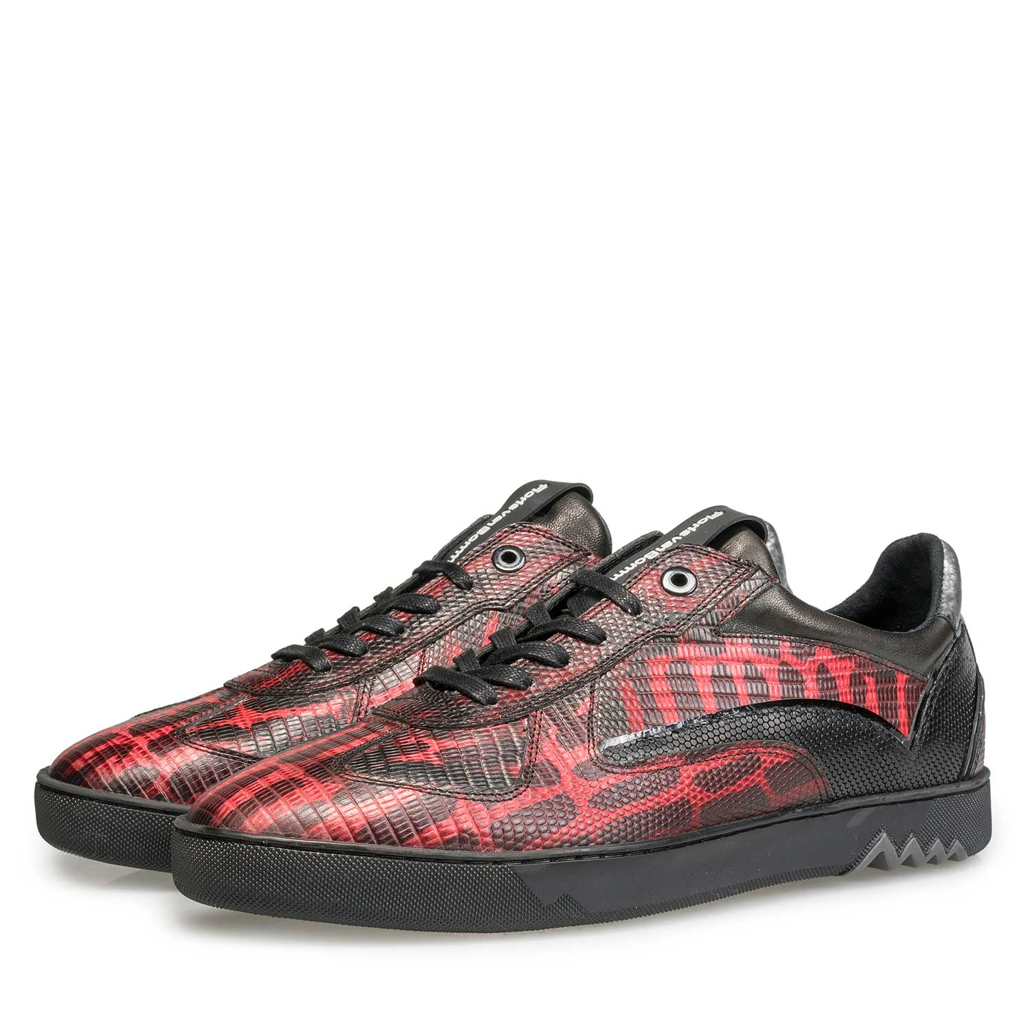 16242/04 - Red calf's leather sneaker with lizard print