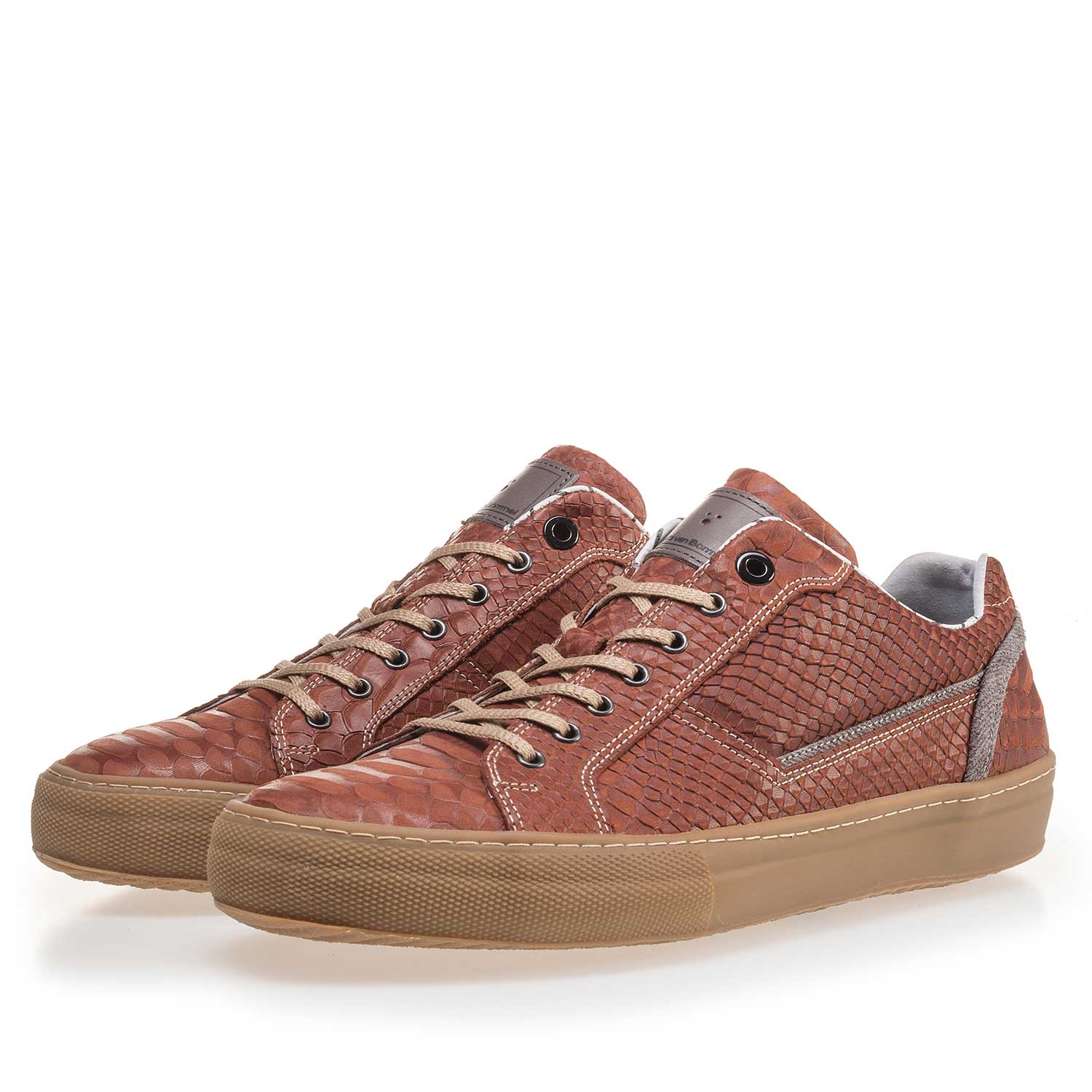 14448/13 - Cognac-coloured leather sneaker with a snake print