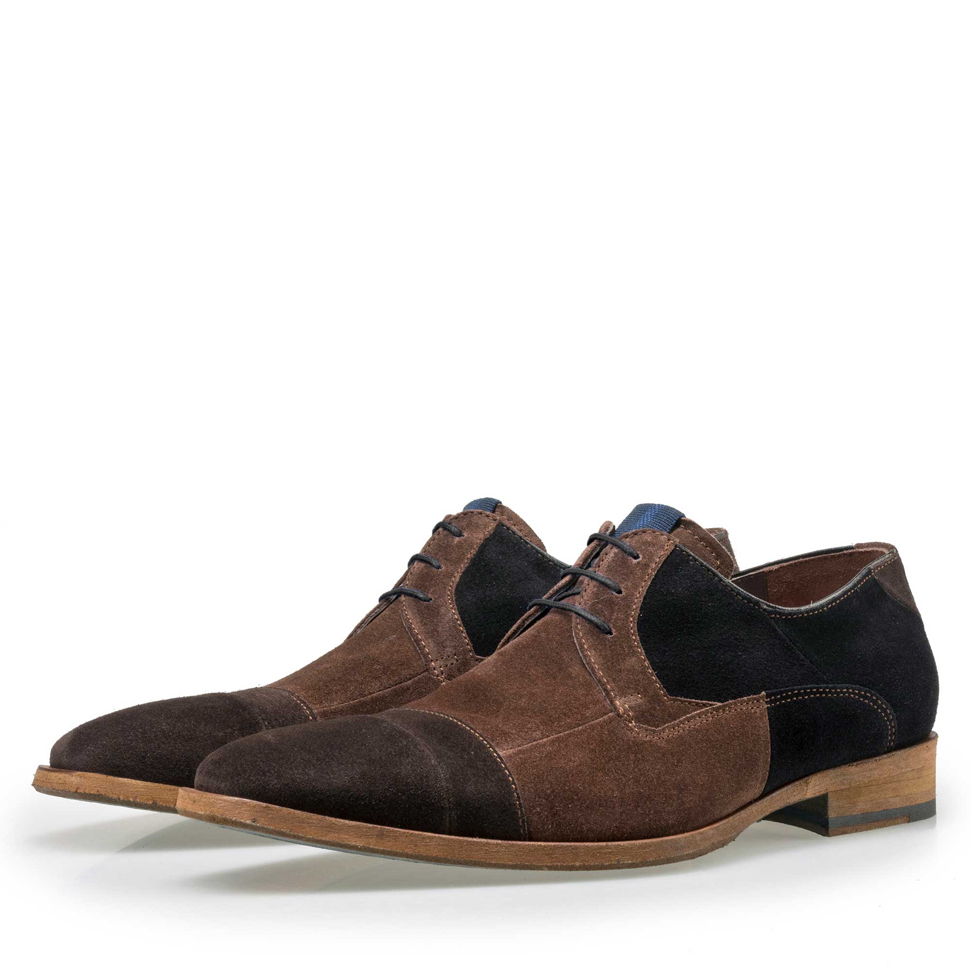 18048/00 - Floris van Bommel brown suede leather patchwork lace shoe