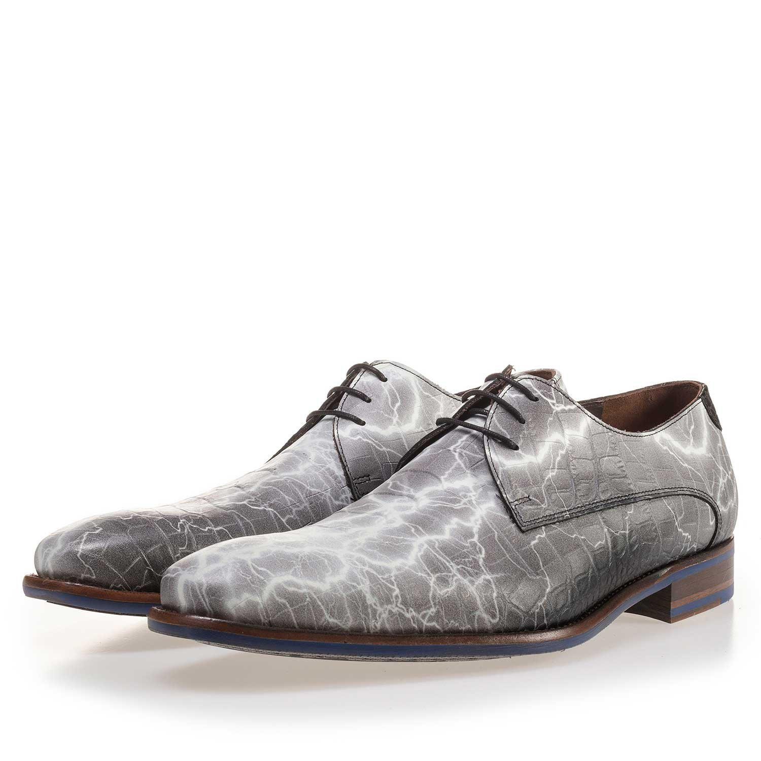 14267/02 - Premium grey printed leather lace shoe