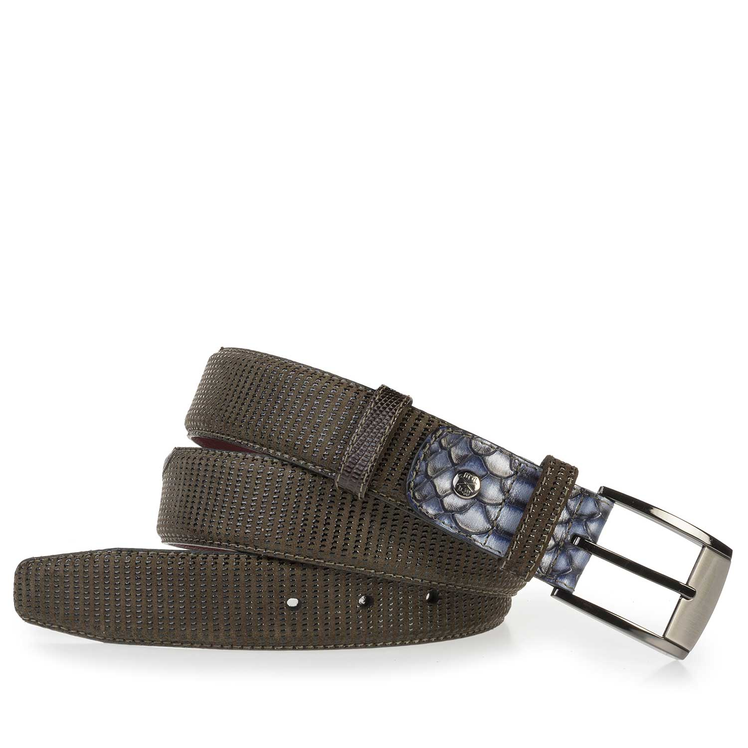 75176/02 - Olive green suede leather belt