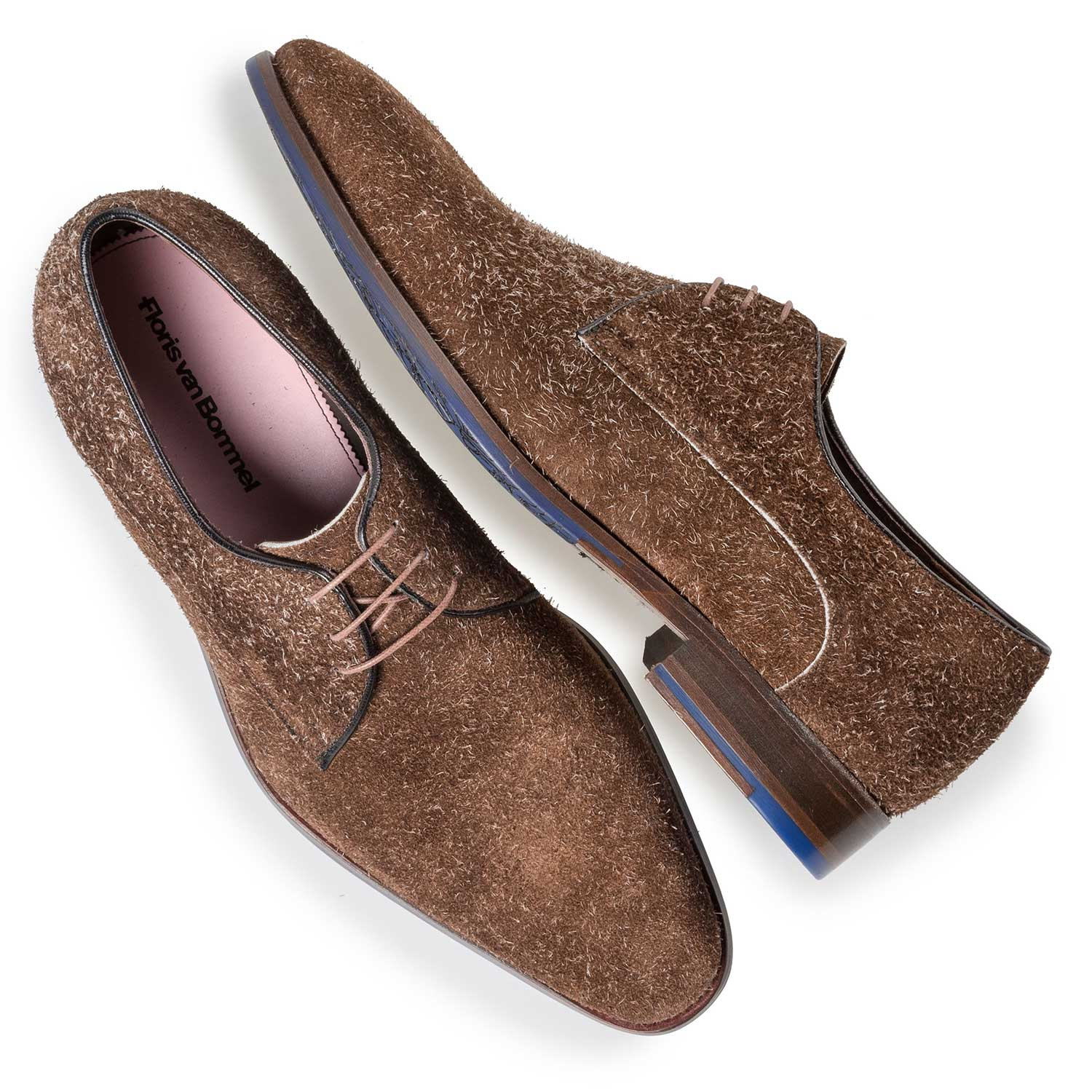 18072/01 - Brown buffed suede leather lace shoe